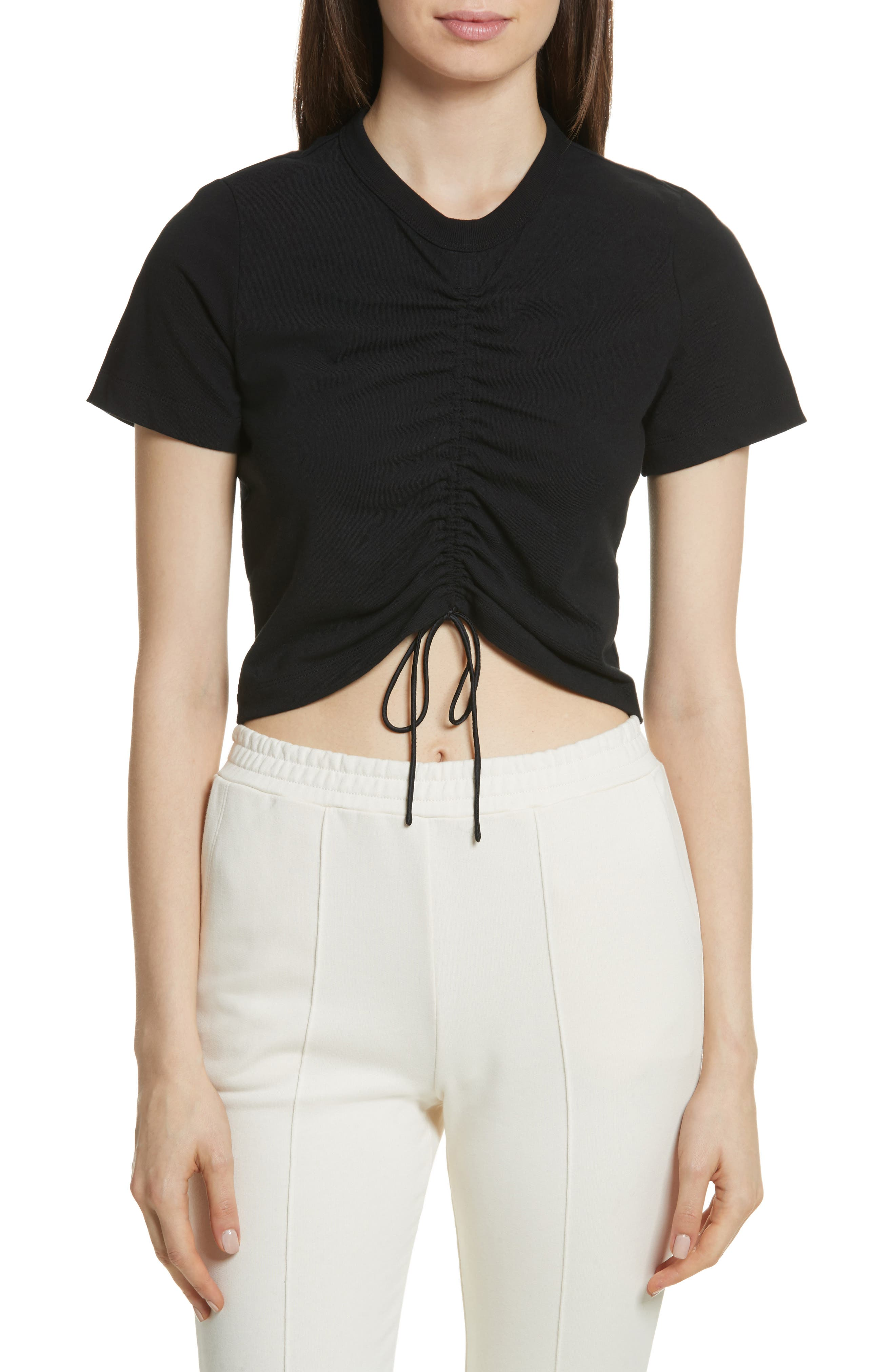 T by Alexander Wang Ruched Cotton Tee,                             Main thumbnail 1, color,                             001