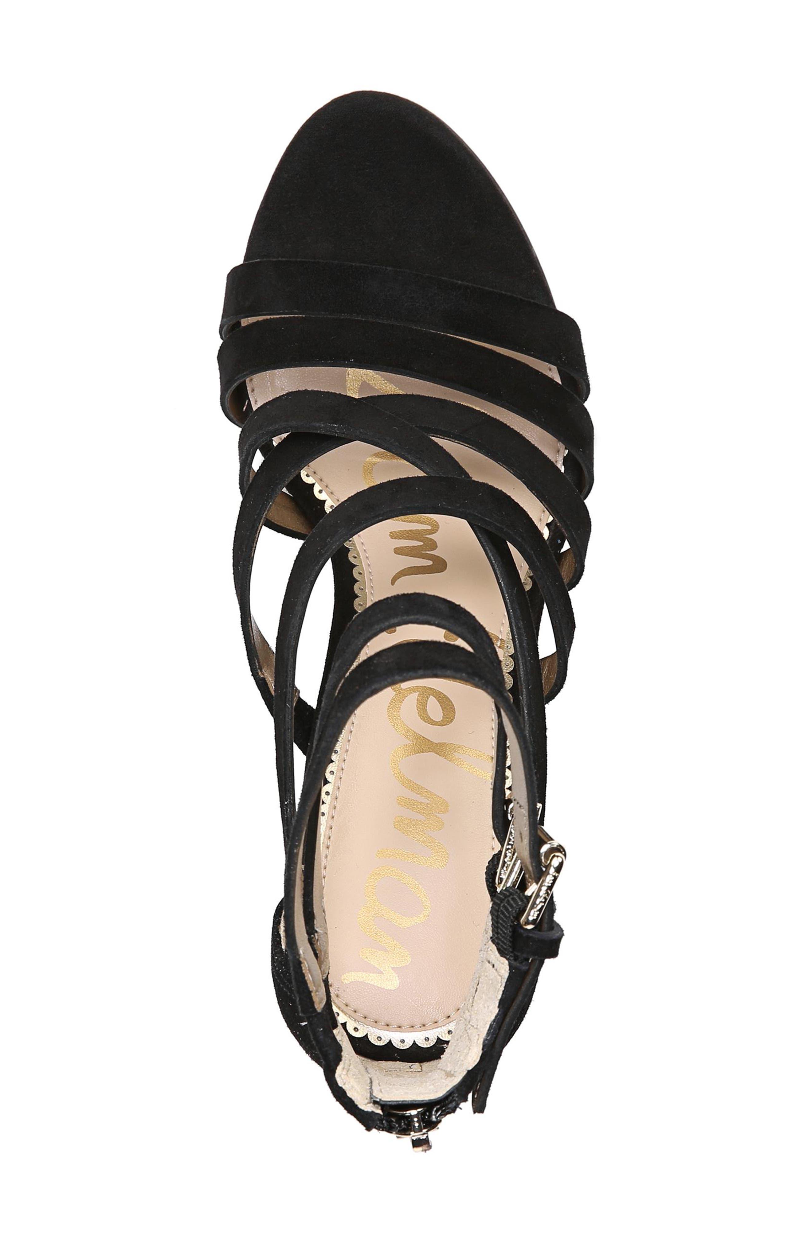 Yema Block Heel Sandal,                             Alternate thumbnail 5, color,                             BLACK SUEDE