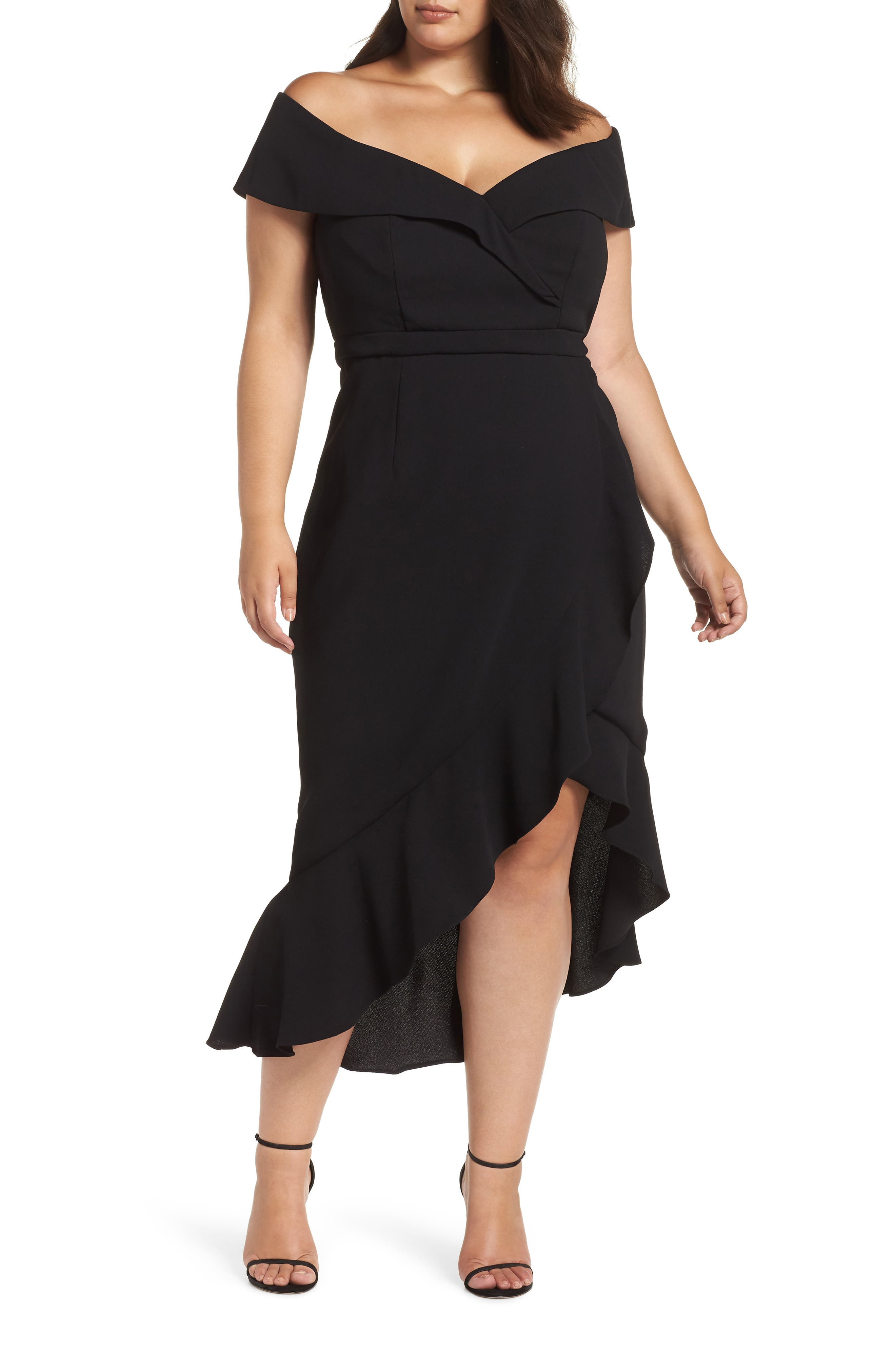 Plus Size Xscape Off The Shoulder Ruffle Midi Dress, Black