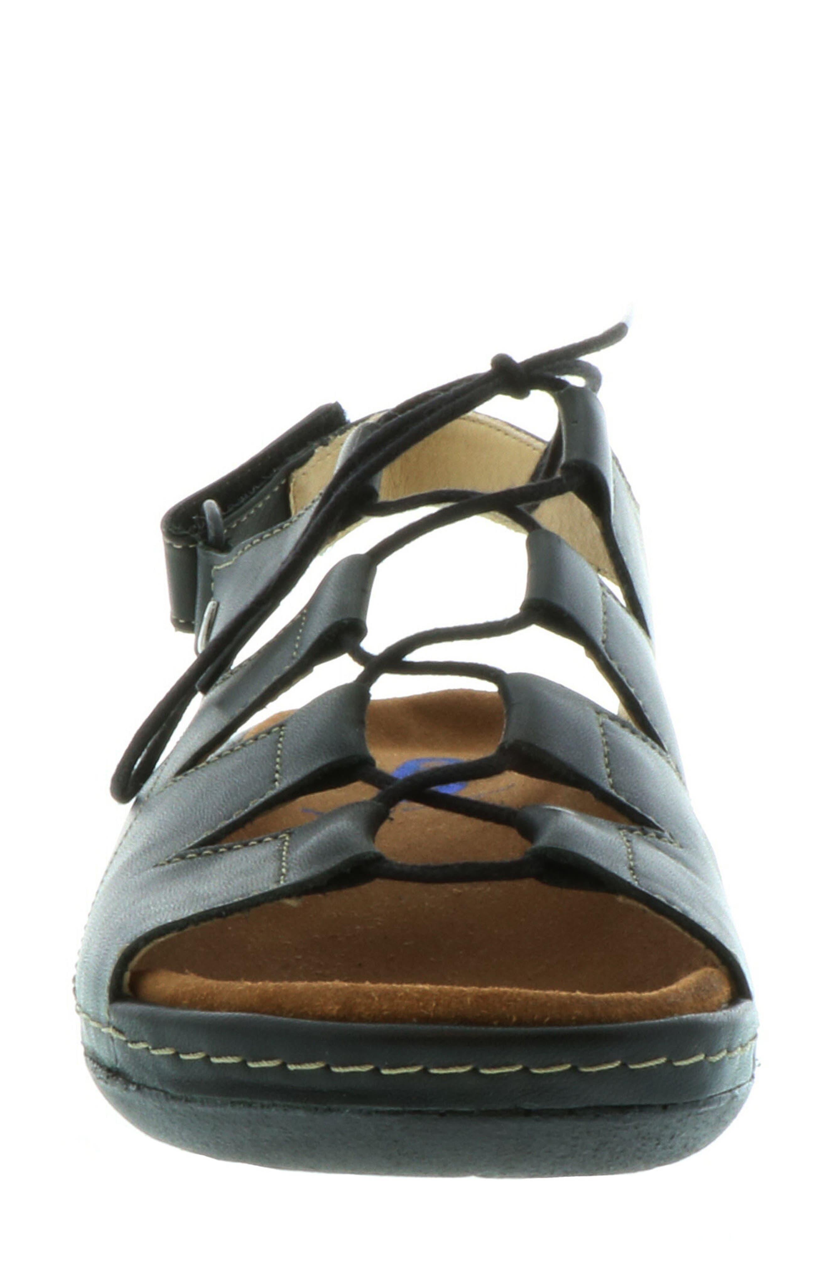 Kite Lace-Up Sandal,                             Alternate thumbnail 4, color,                             BLACK LEATHER