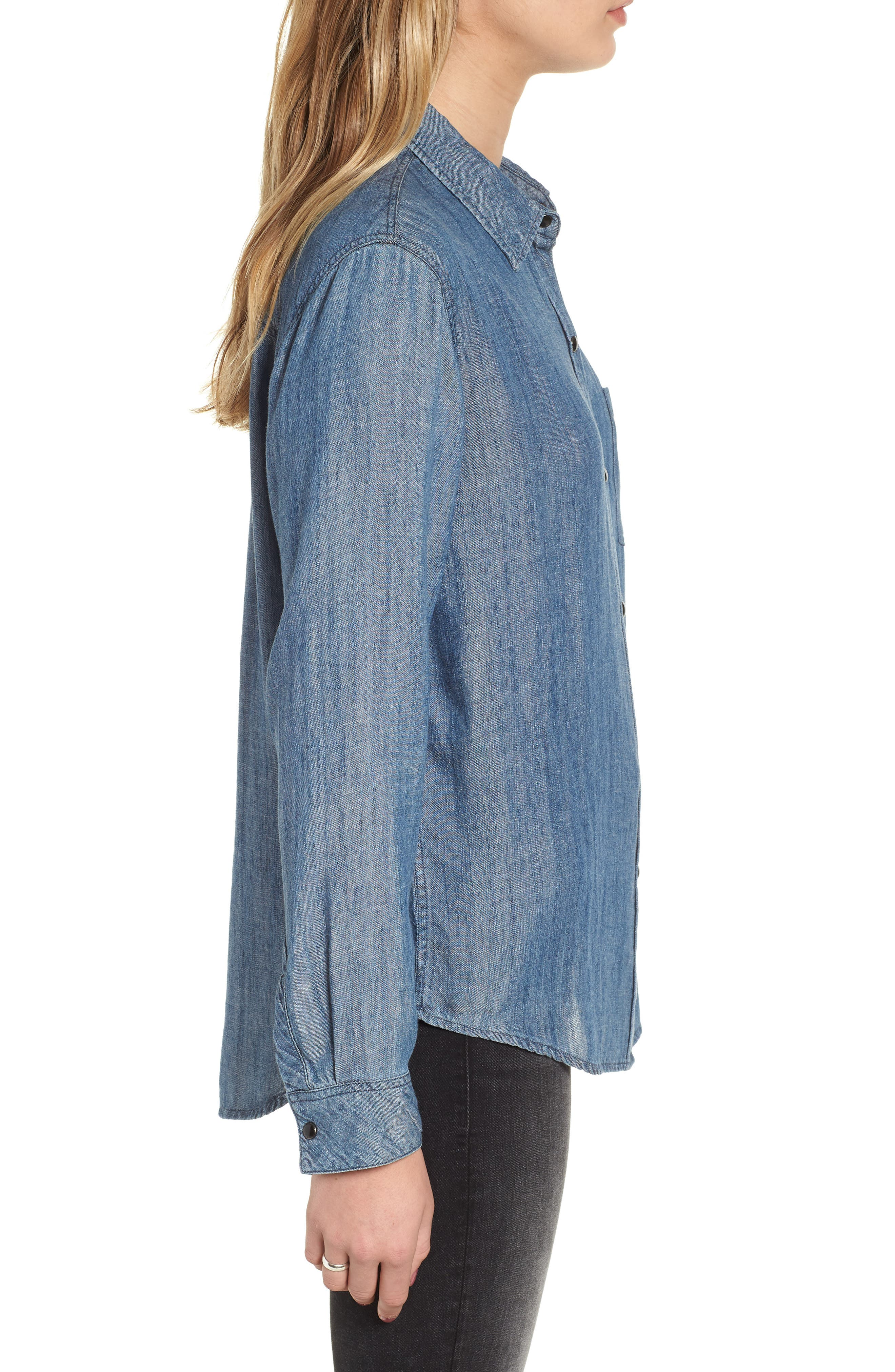 Cass Chambray Top,                             Alternate thumbnail 3, color,                             DARK VINTAGE WASH
