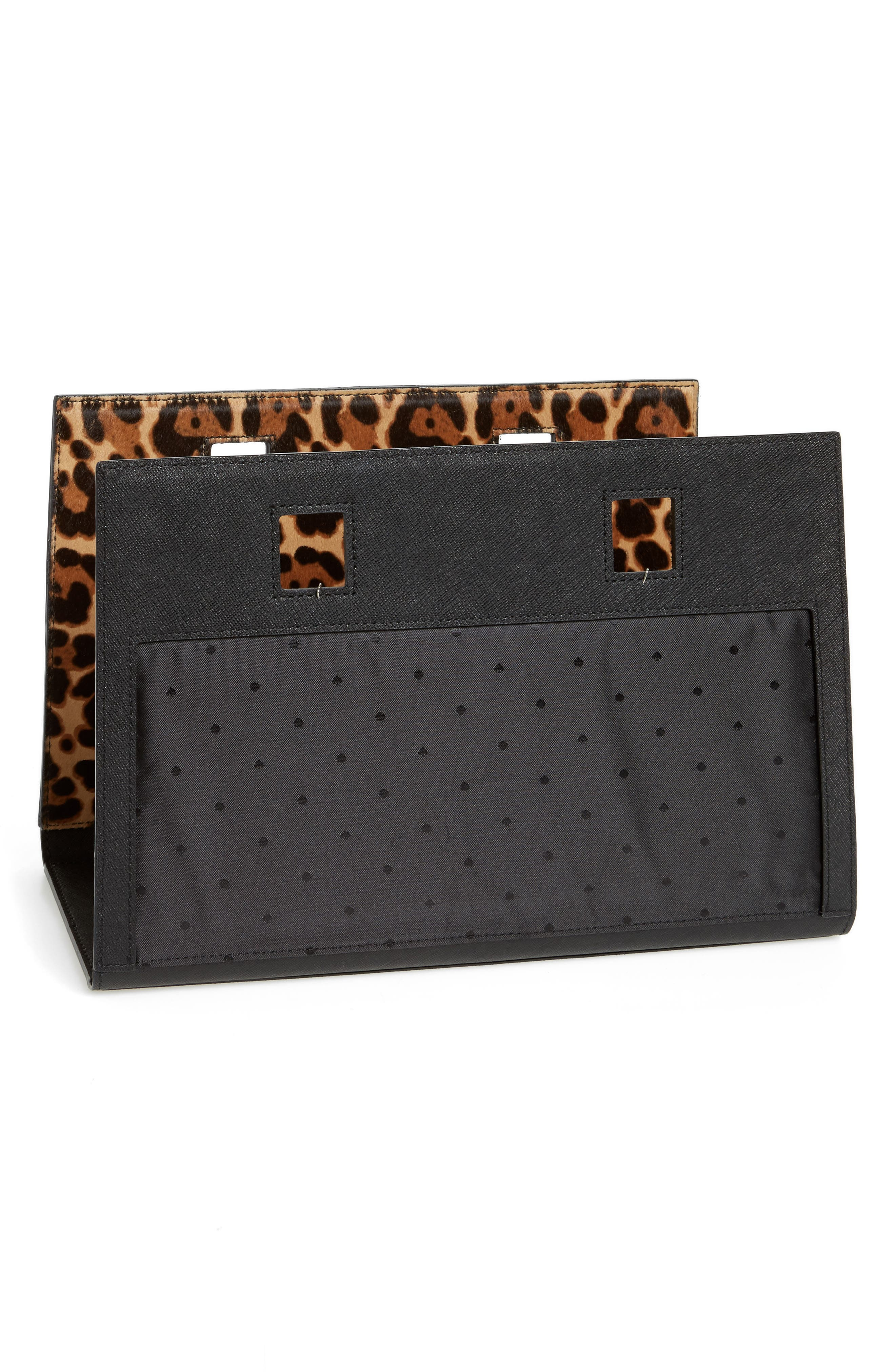 make it mine reversible solid leather/leopard-print genuine calf hair snap-on accent flap,                             Alternate thumbnail 3, color,                             200