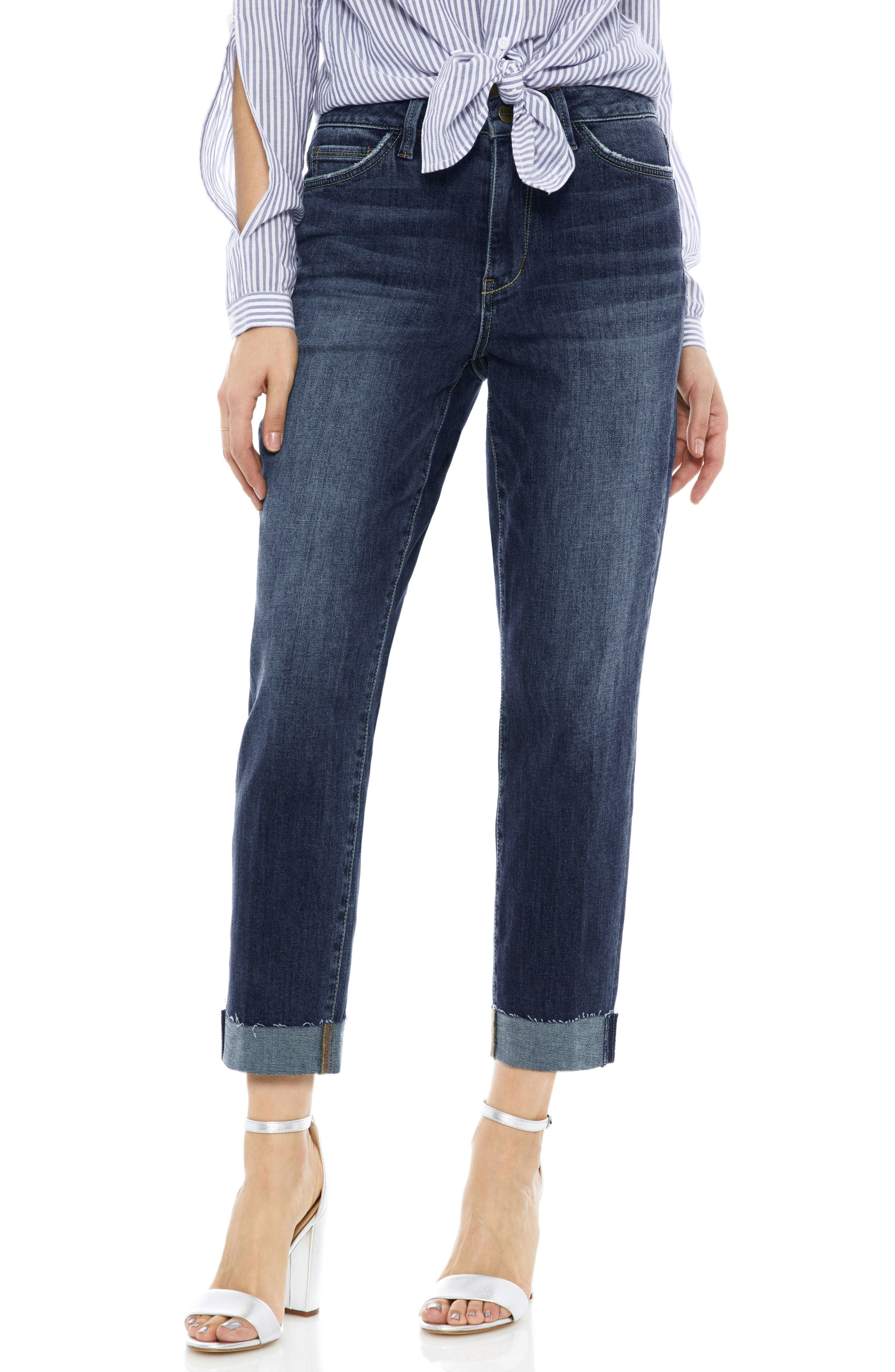 The Mary Jane Cuffed Raw Edge Jeans,                         Main,                         color,