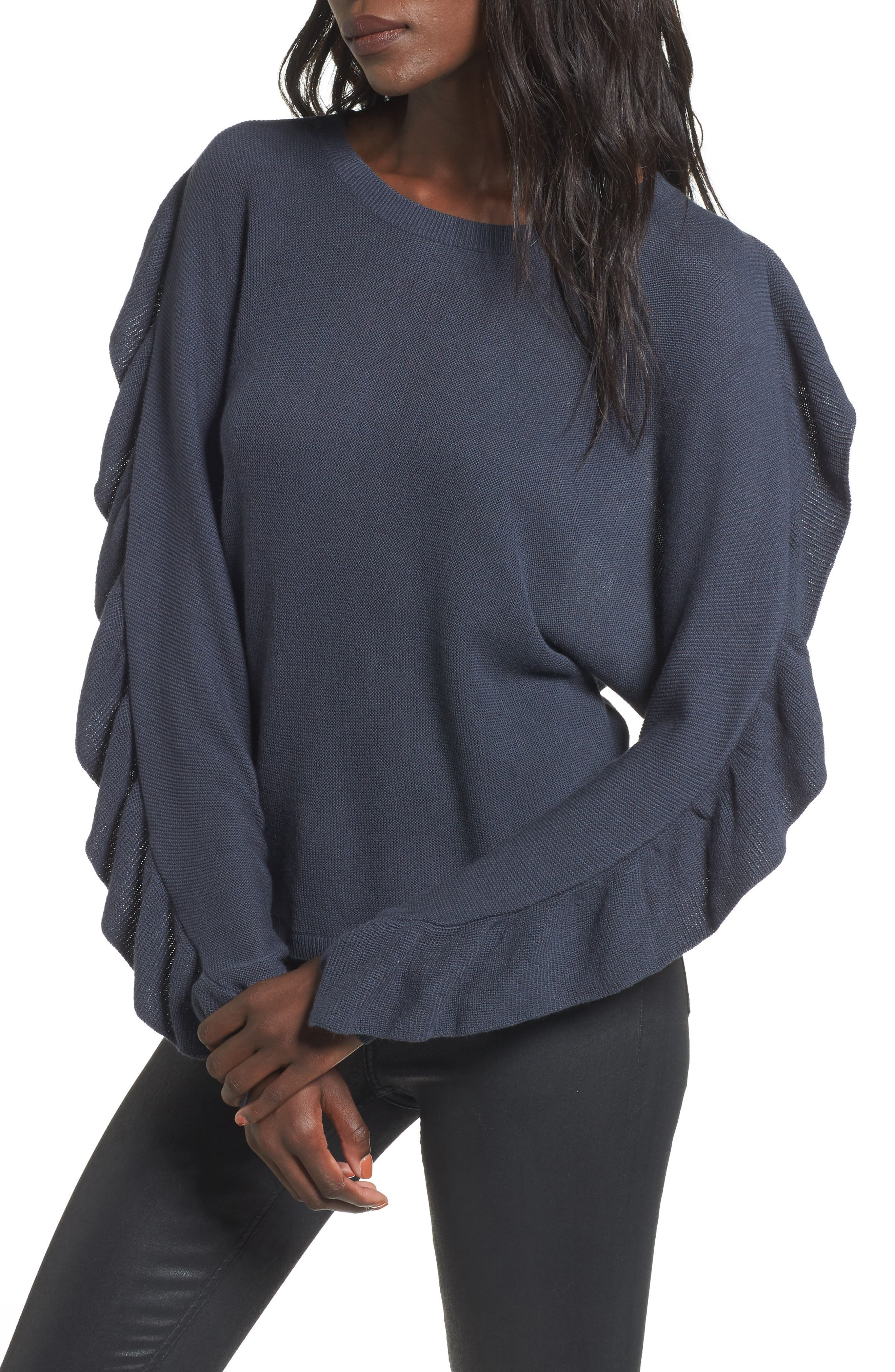 Ruffle Sleeve Sweater,                             Main thumbnail 1, color,
