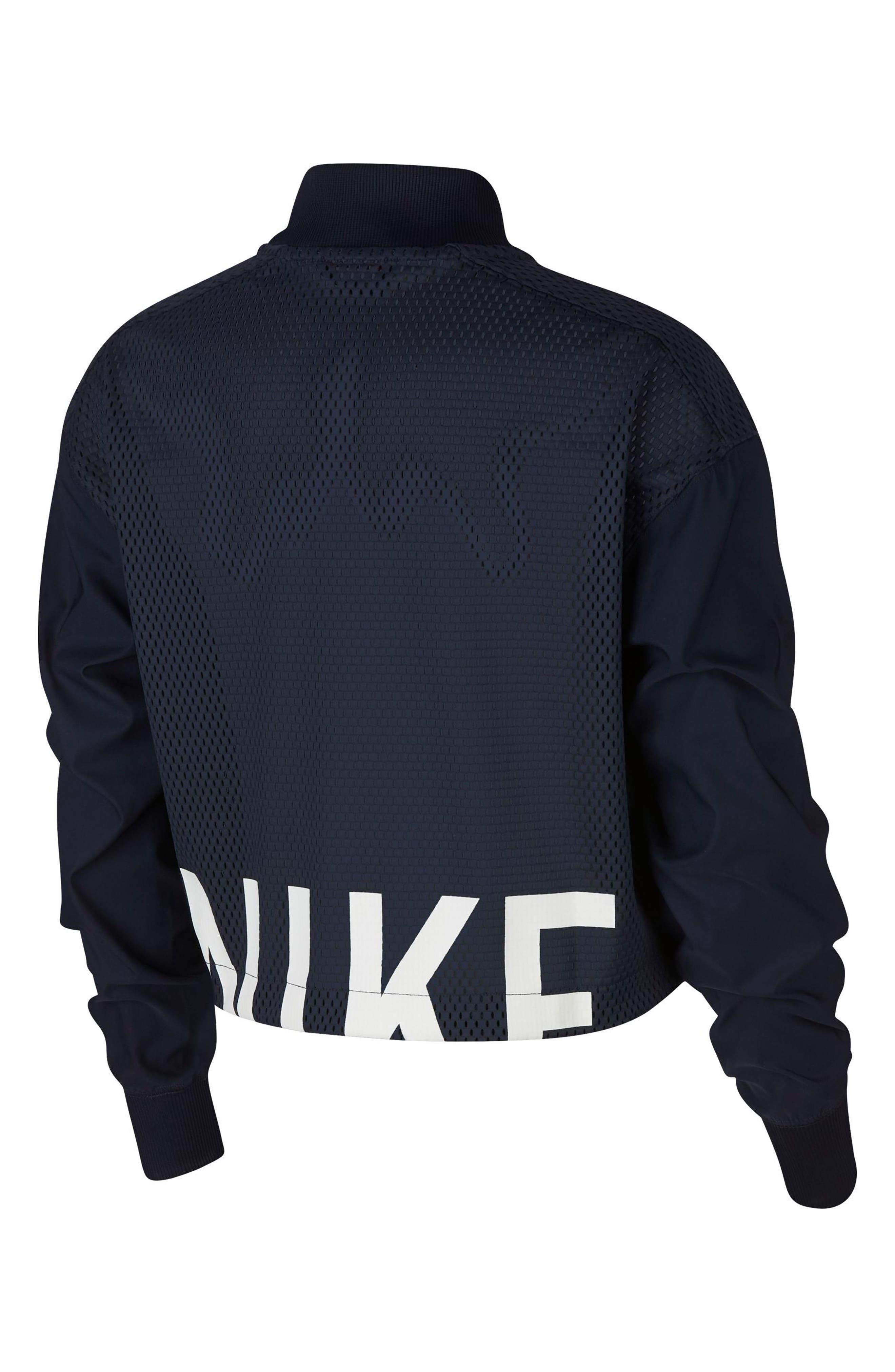 Sportswear Women's Dry Bomber Jacket,                             Alternate thumbnail 2, color,                             OBSIDIAN/ WHITE