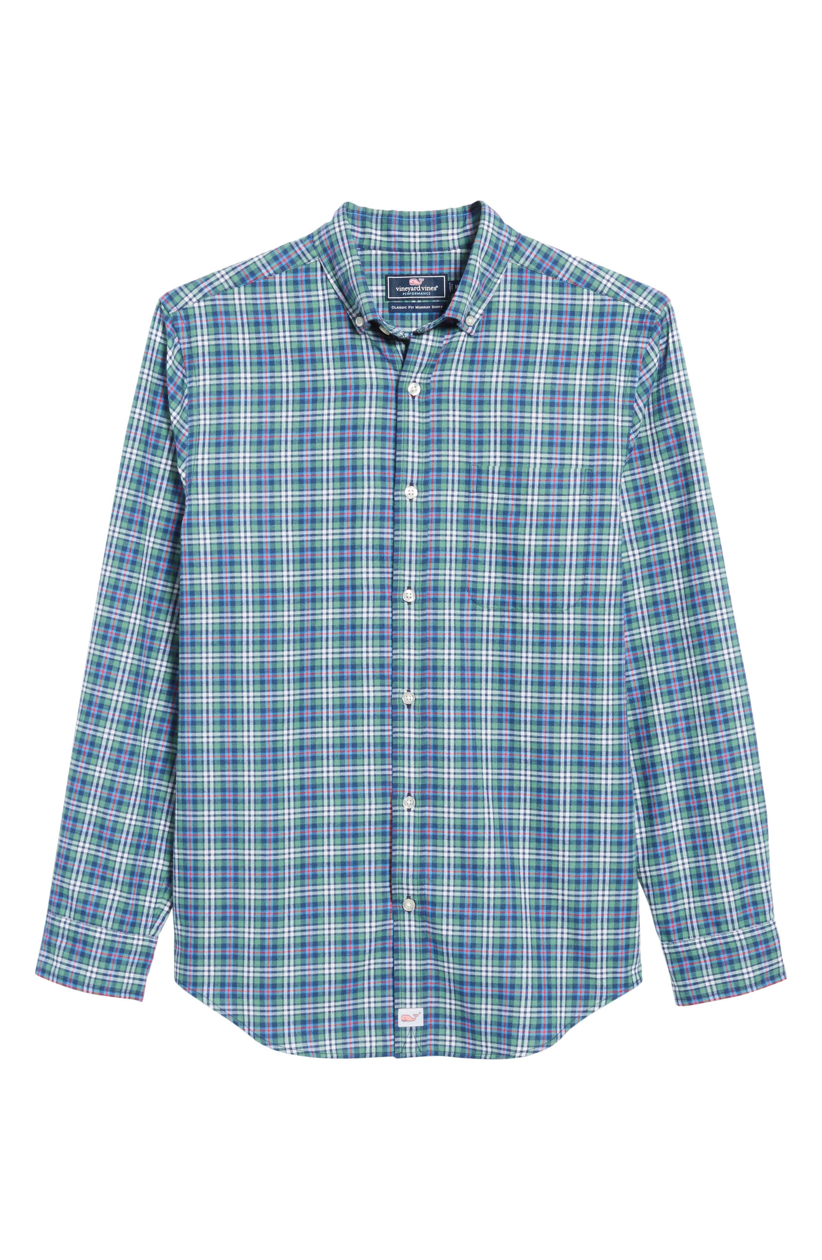 Murray Plaid Classic Fit Sport Shirt,                             Alternate thumbnail 6, color,                             303