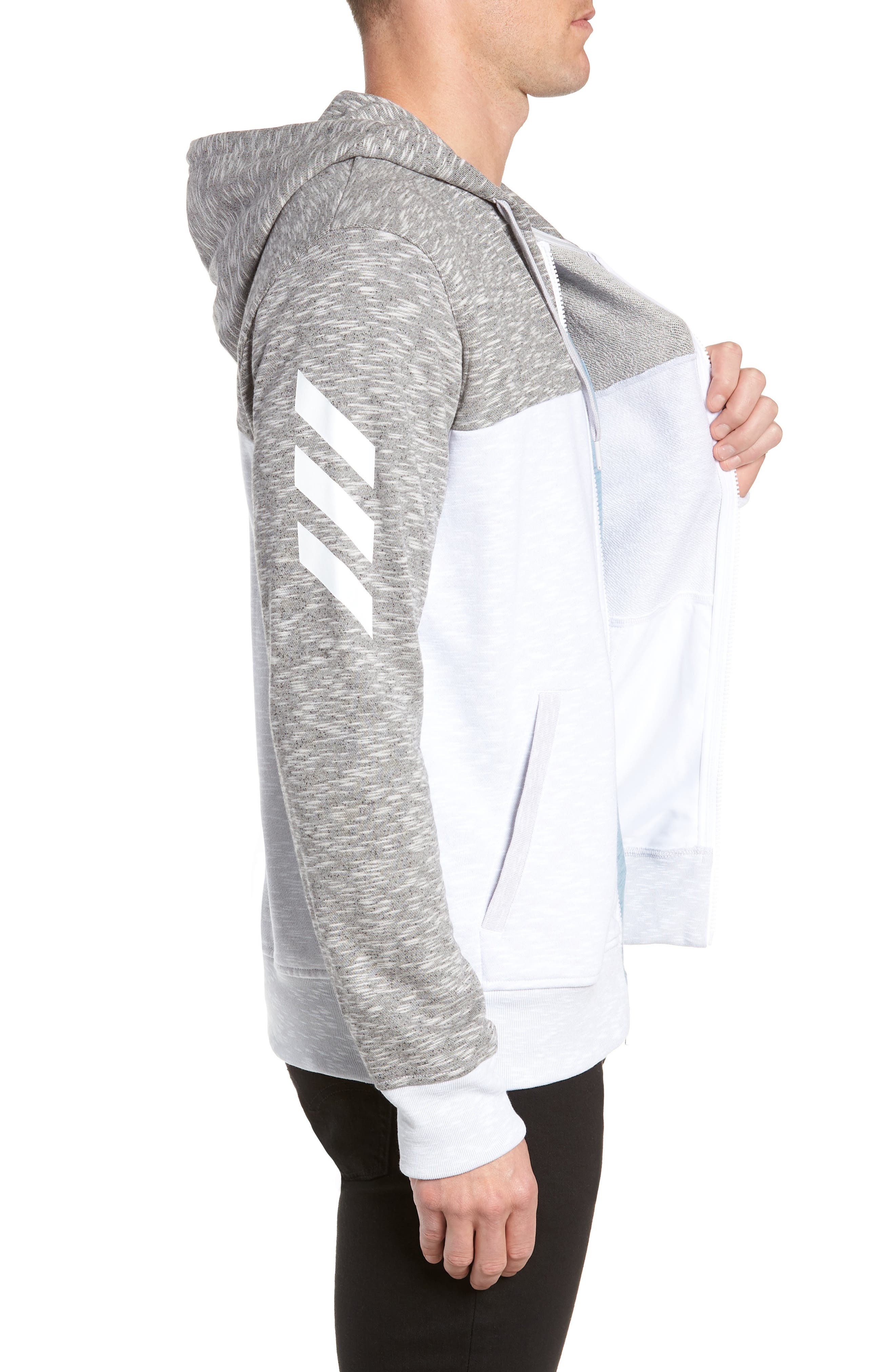 Pick Up Colorblock Zip Hoodie,                             Alternate thumbnail 3, color,                             LGH SOLID GREY/ WHITE