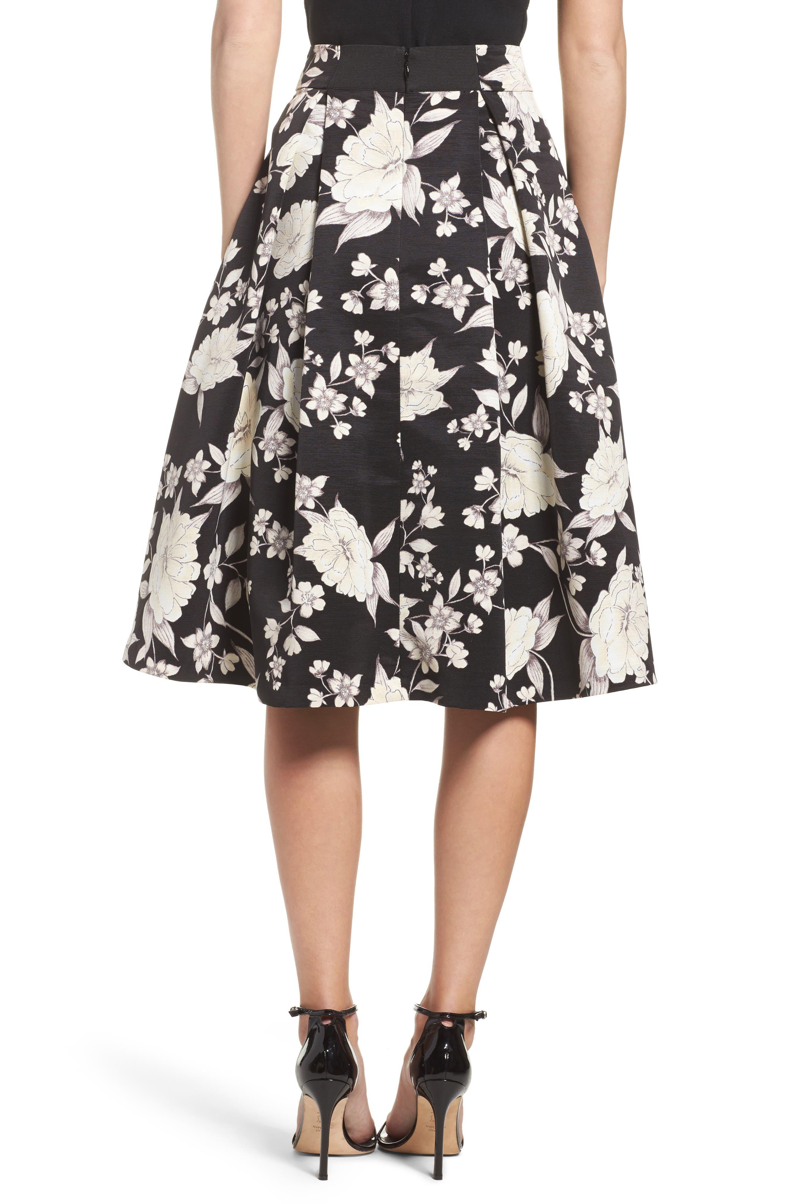 Floral Print Midi Skirt,                             Alternate thumbnail 2, color,                             003