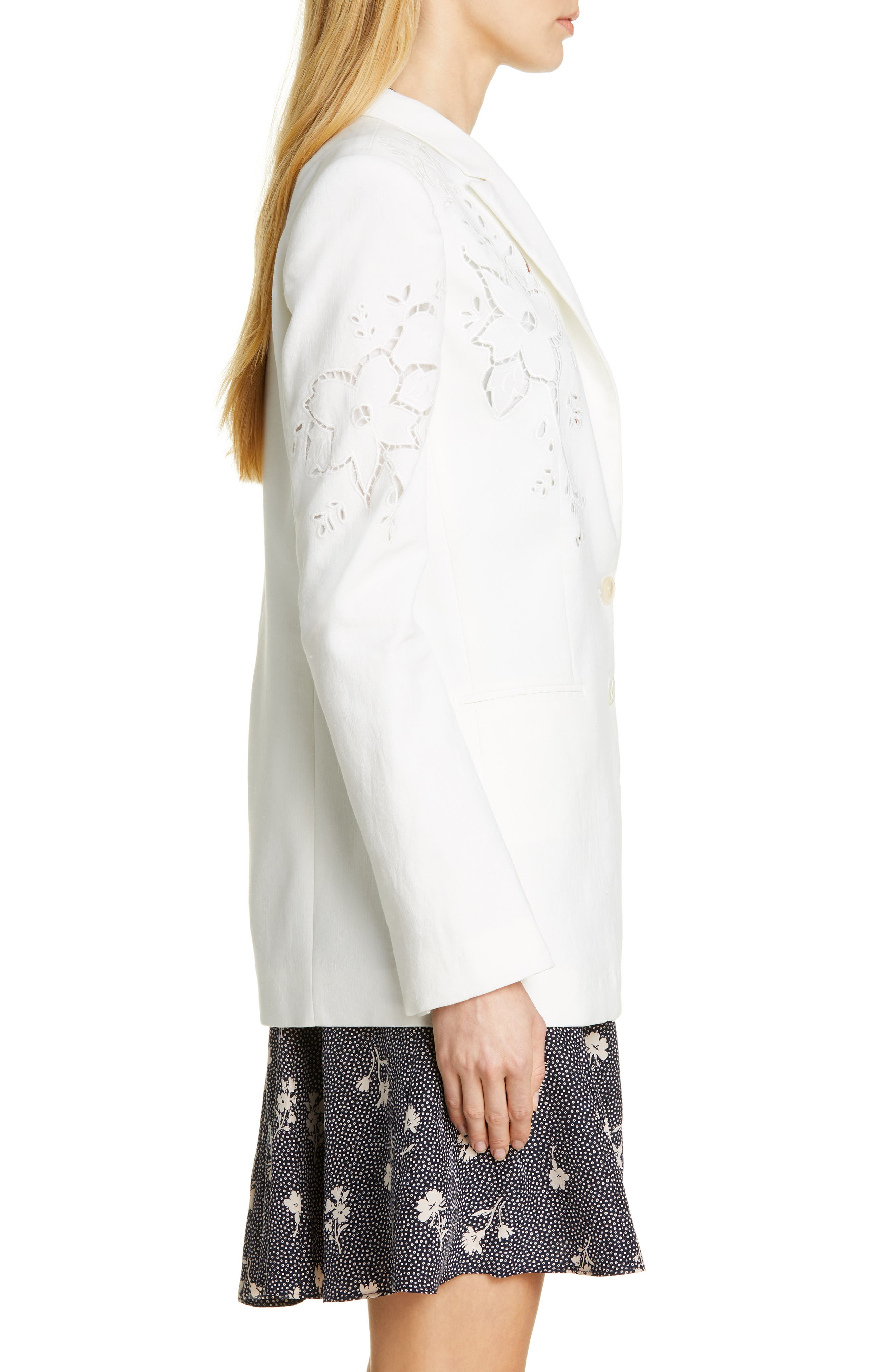 TAILORED BY REBECCA TAYLOR,                             Eyelet Embroidery Linen Blend Blazer,                             Alternate thumbnail 3, color,                             SNOW