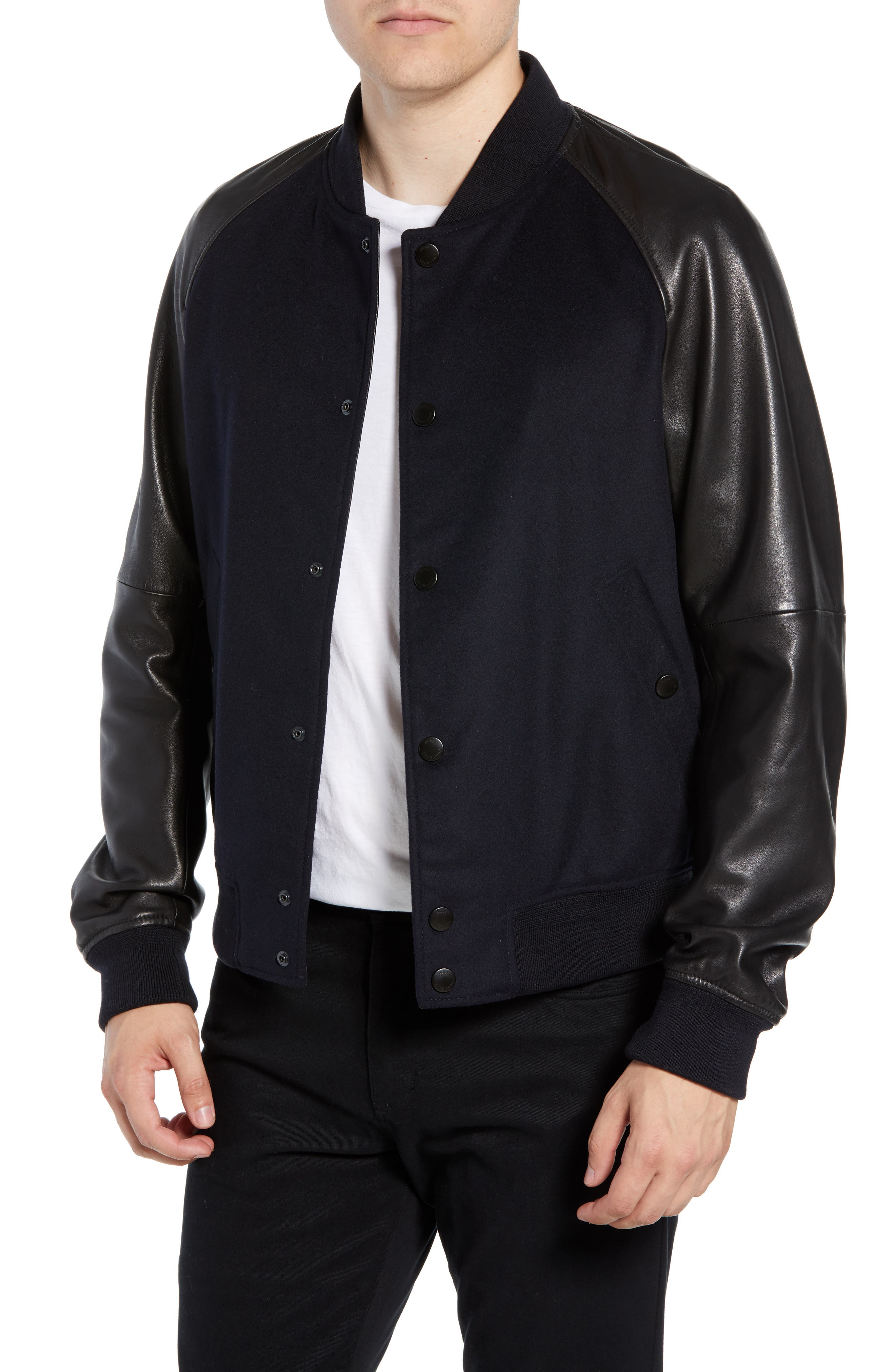 Mavcon Wool & Leather Regular Fit Jacket,                         Main,                         color, 480