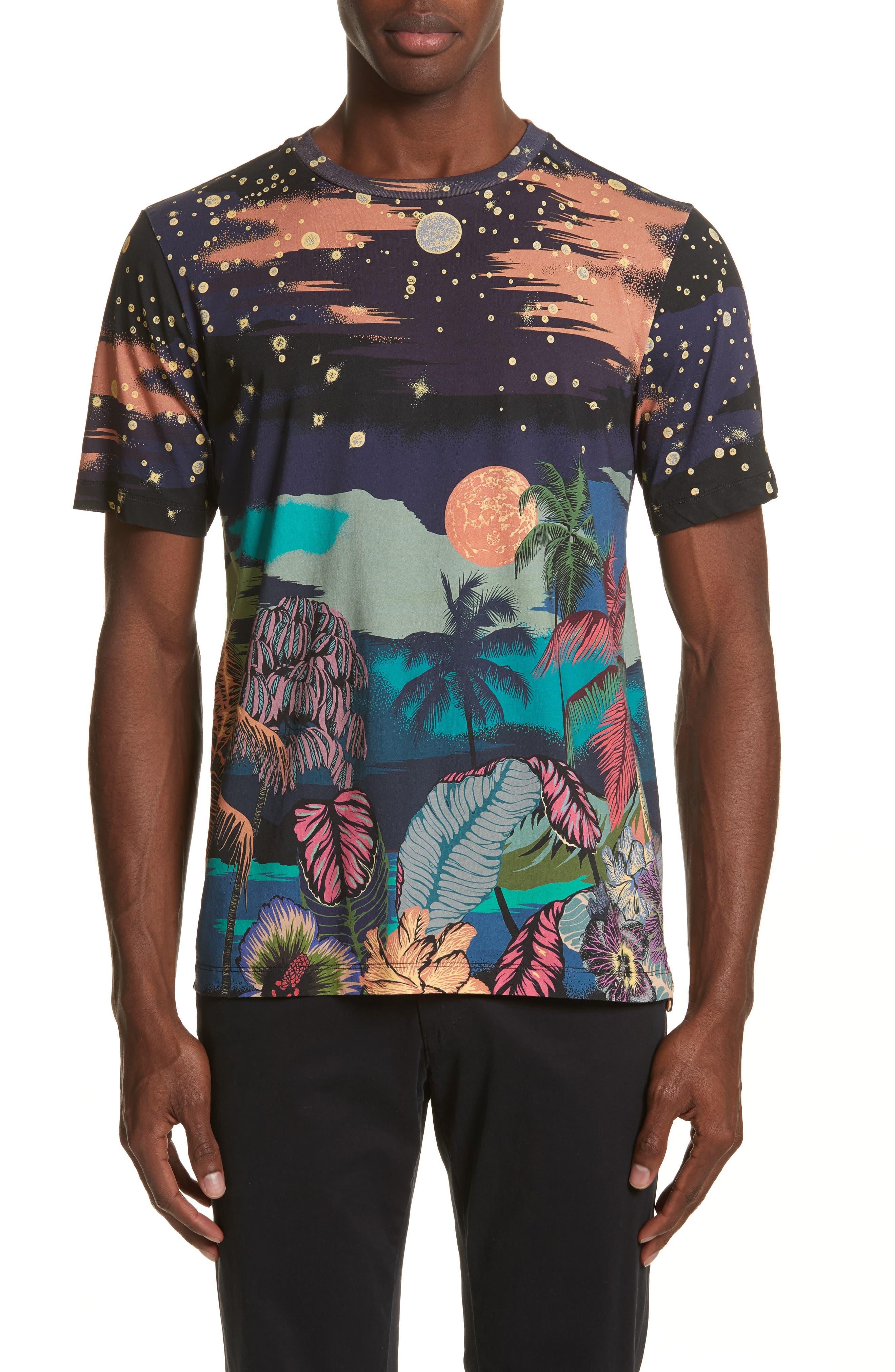 Palm Tree Print T-Shirt,                             Main thumbnail 1, color,                             400