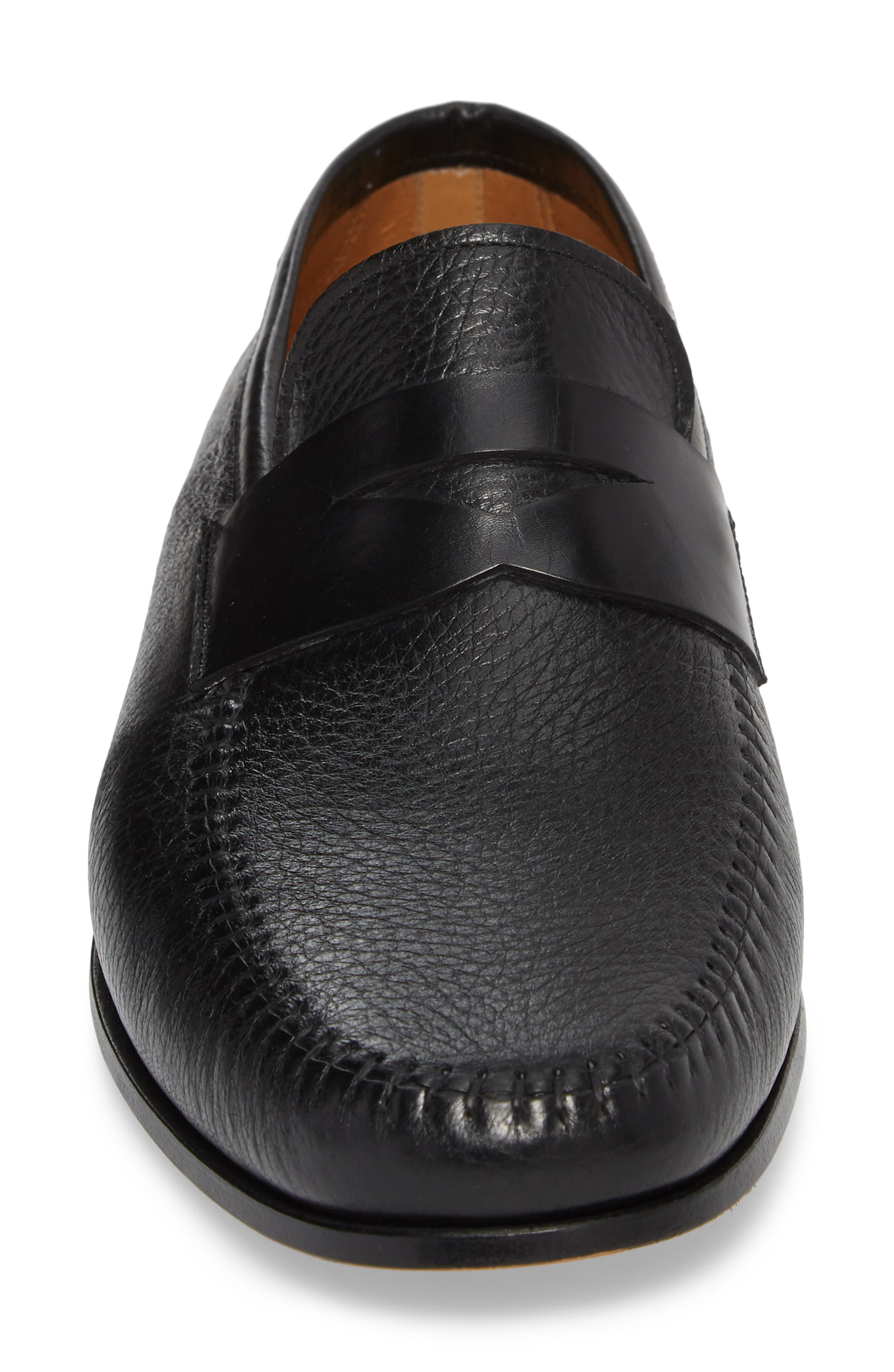 MAGNANNI,                             Ramos Moc Toe Penny Loafer,                             Alternate thumbnail 4, color,                             BLACK/BLACK LEATHER
