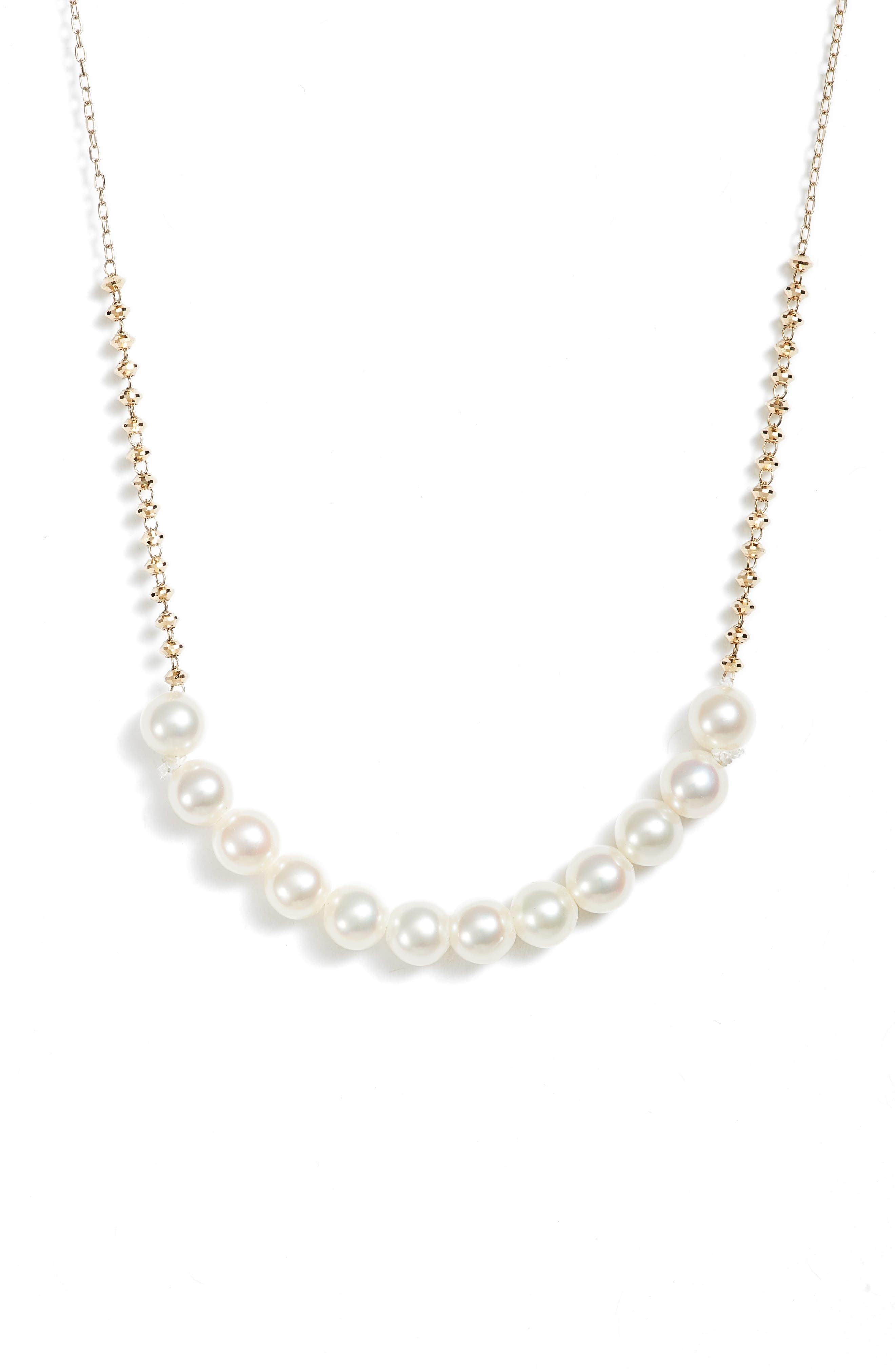 Beaded Pearl Necklace,                         Main,                         color, YELLOW GOLD/ WHITE PEARL