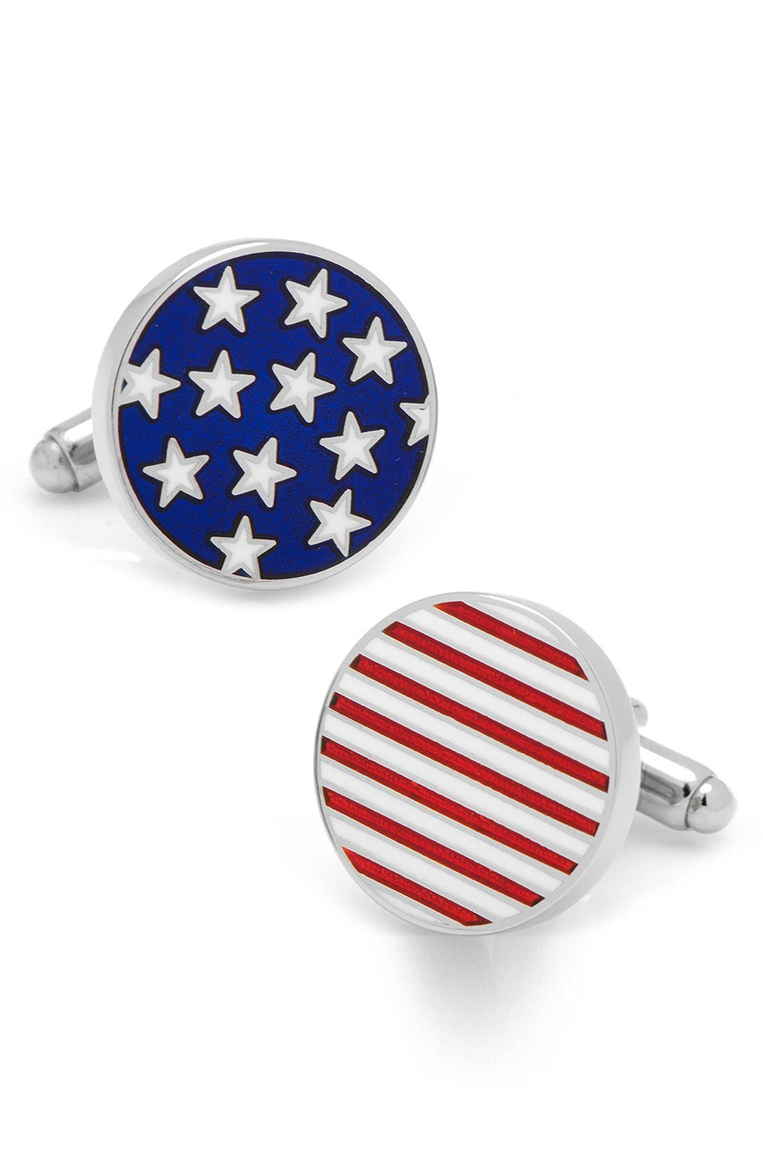 'Stars & Stripes' Cuff Links,                             Main thumbnail 1, color,                             SILVER