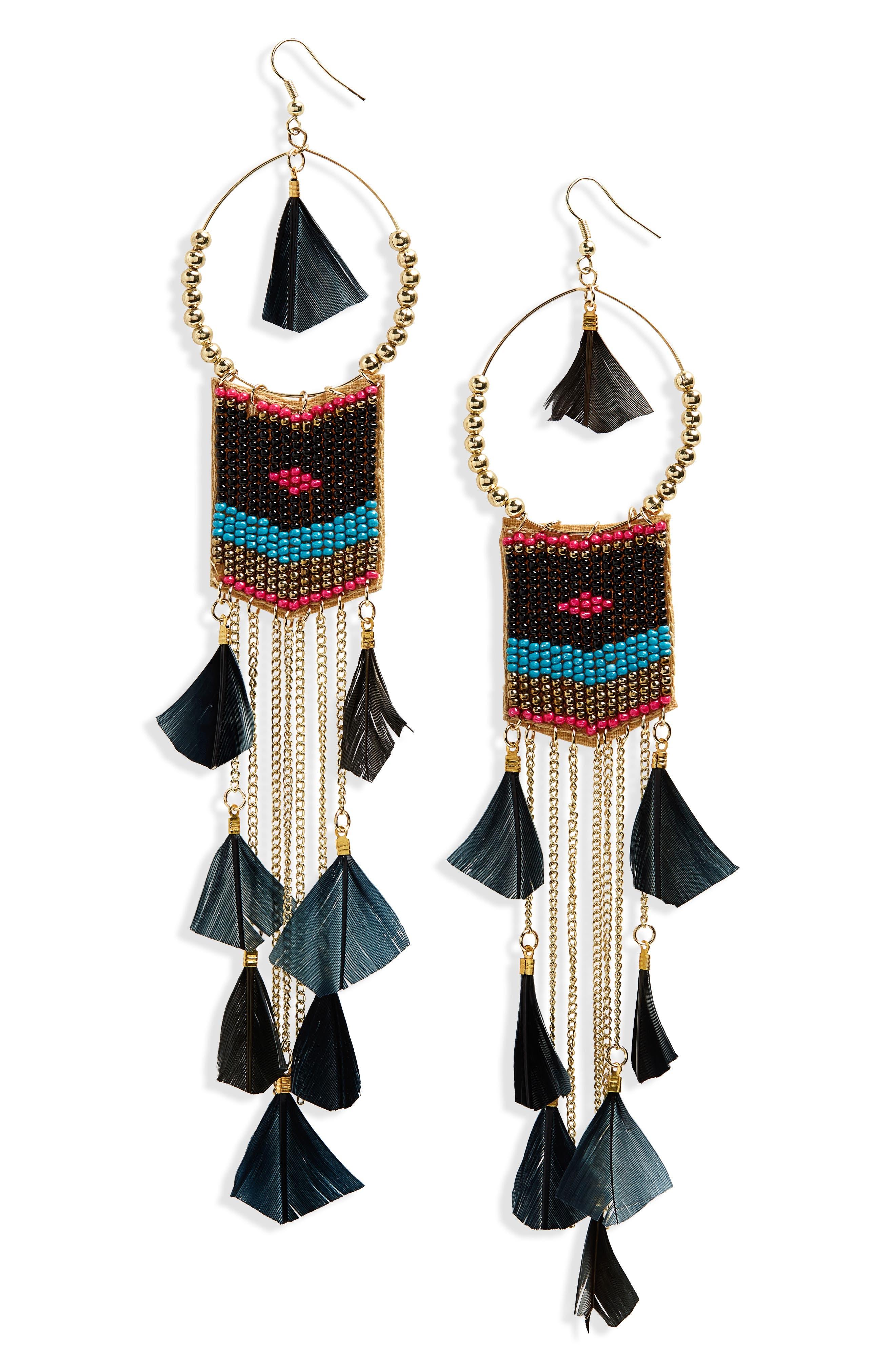 Feather Beaded Drop Earrings,                             Main thumbnail 1, color,                             BLACK/ MULTI