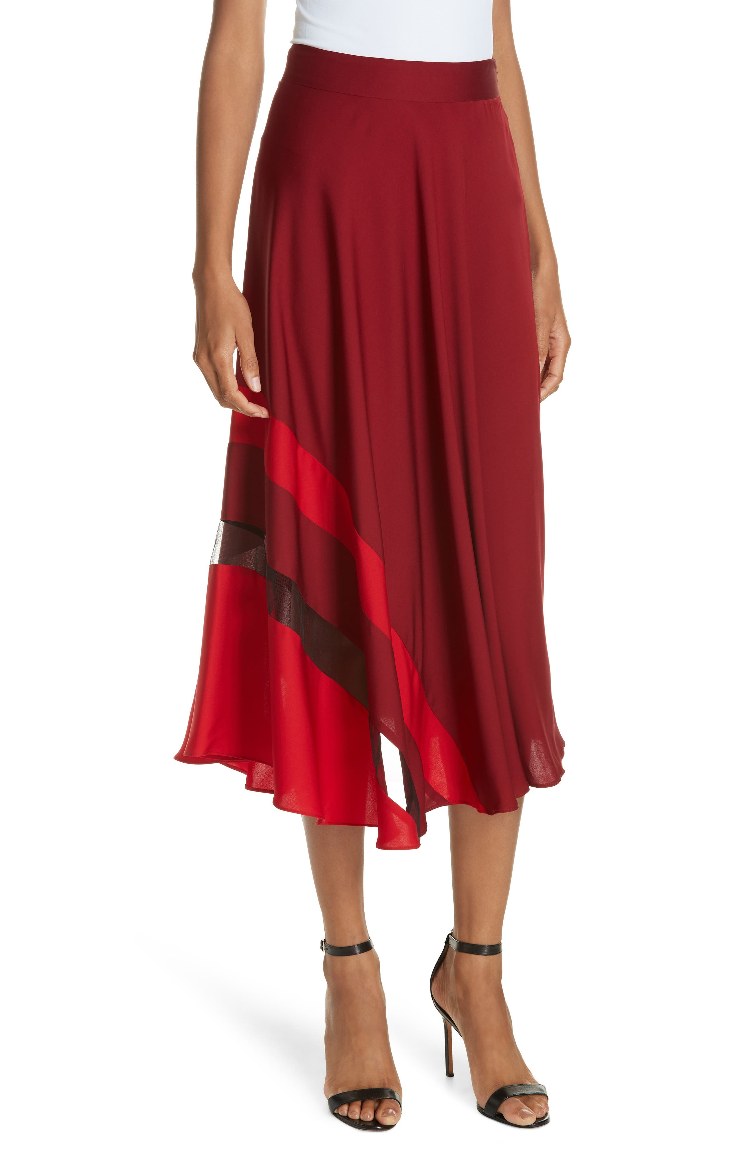 Asymmetrical Stripe Stretch Silk Midi Skirt,                             Main thumbnail 1, color,                             BURGUNDY/ RUBY