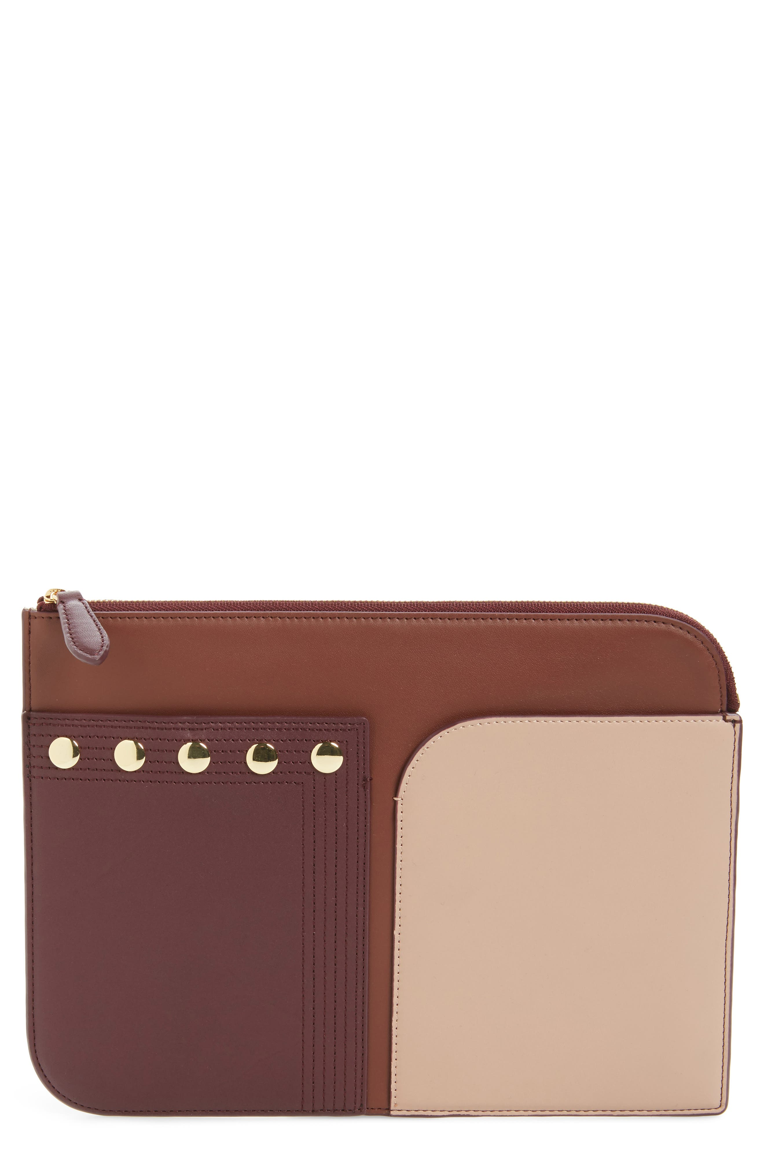 Large Colorblock Leather Zip Pouch,                             Main thumbnail 2, color,