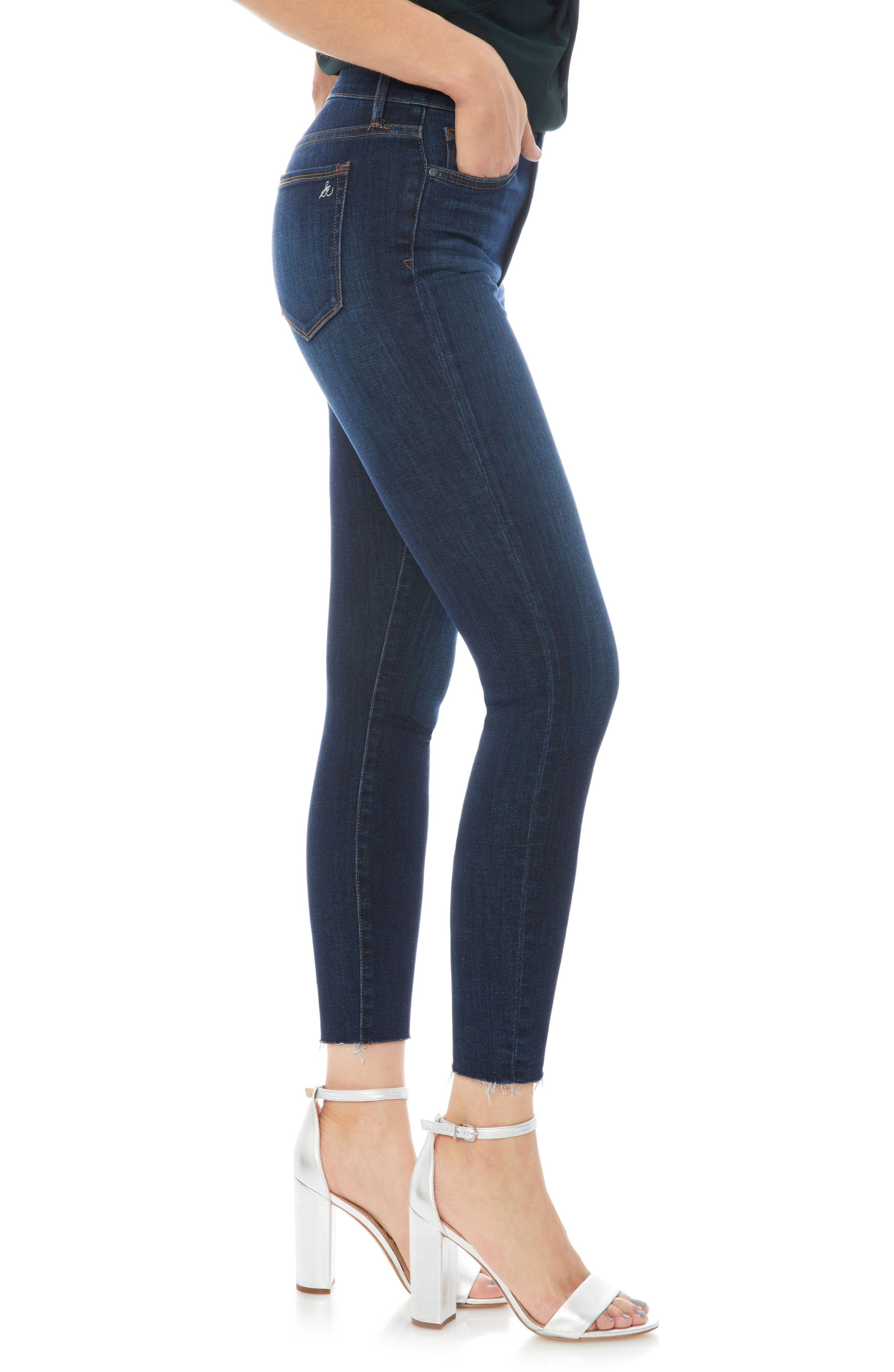 The Stiletto Raw Edge Skinny Jeans,                             Alternate thumbnail 3, color,                             JACOB