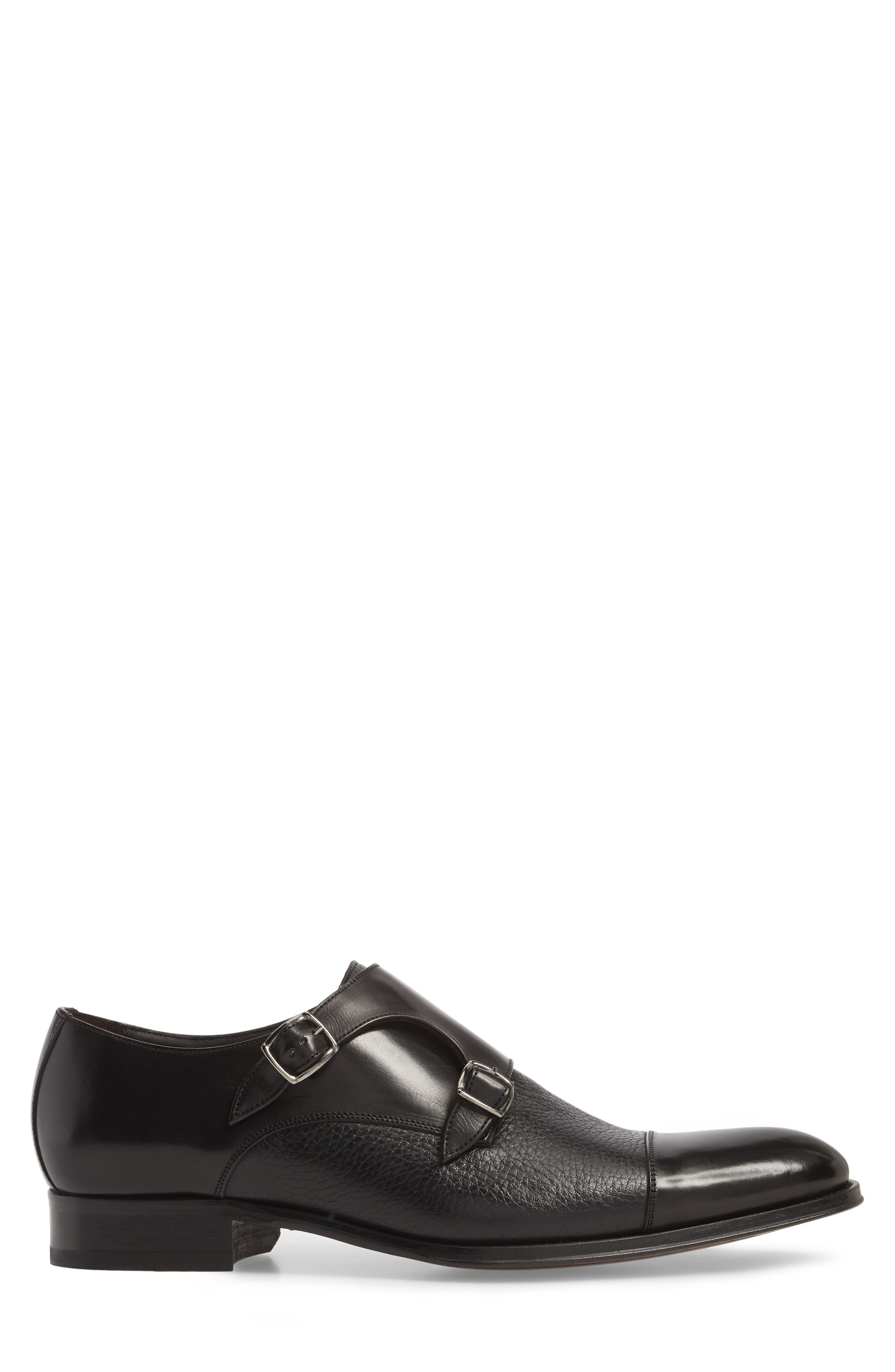 Kiev Double Monk Strap Shoe,                             Alternate thumbnail 3, color,                             BLACK/ BLACK LEATHER