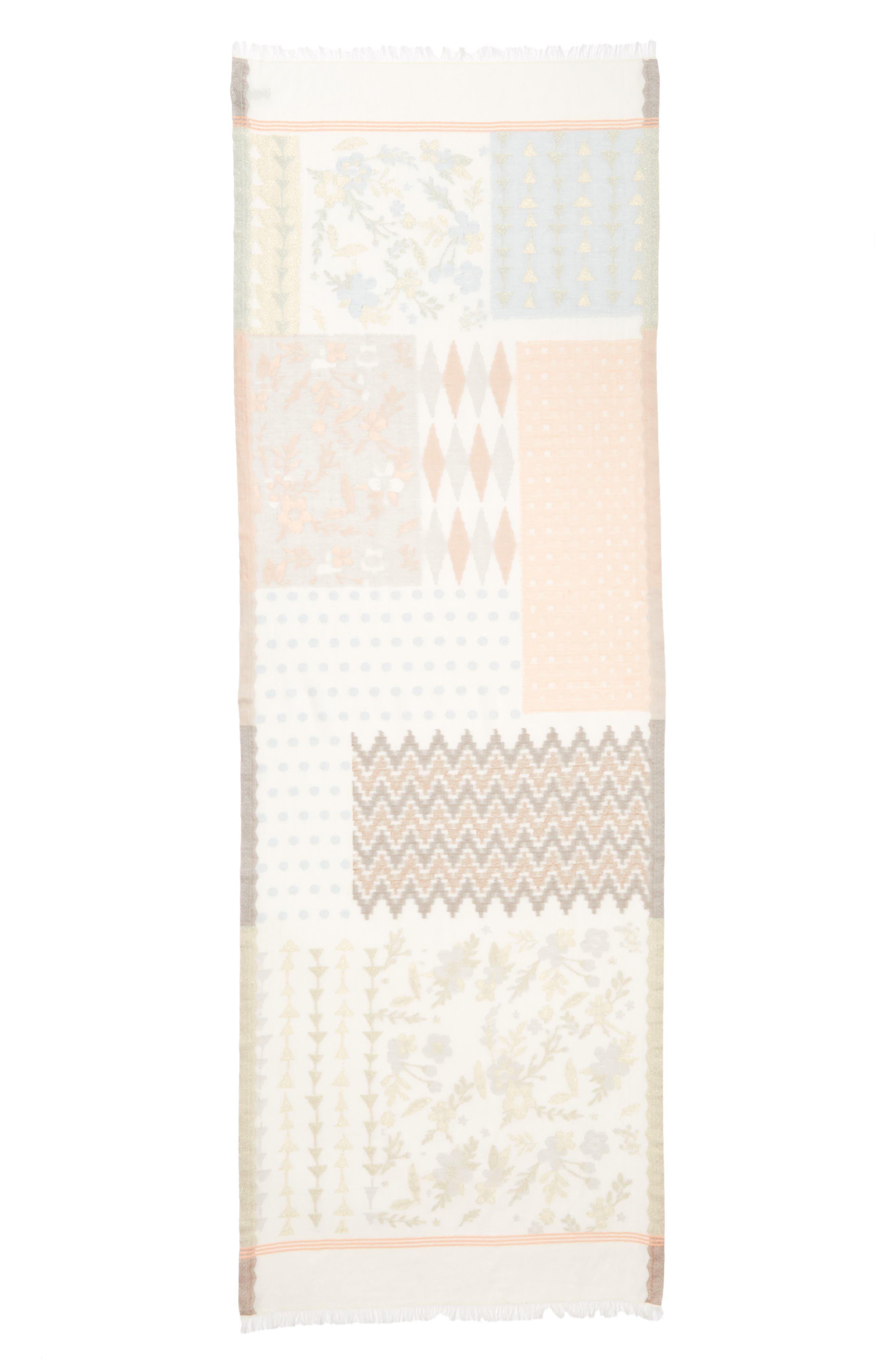 ECHO,                             Patchwork Print Cotton Scarf,                             Alternate thumbnail 3, color,                             101
