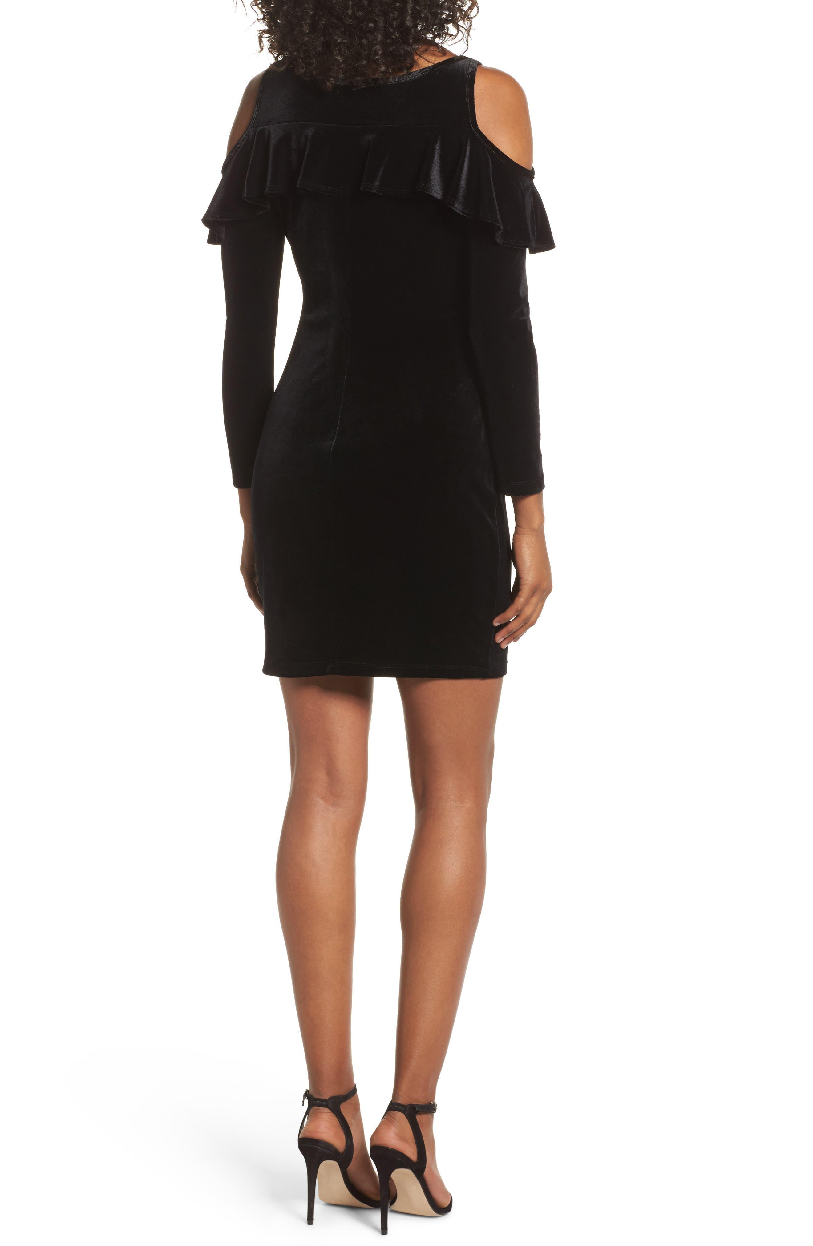 Cold Shoulder Velvet Sheath Dress,                             Alternate thumbnail 2, color,                             001
