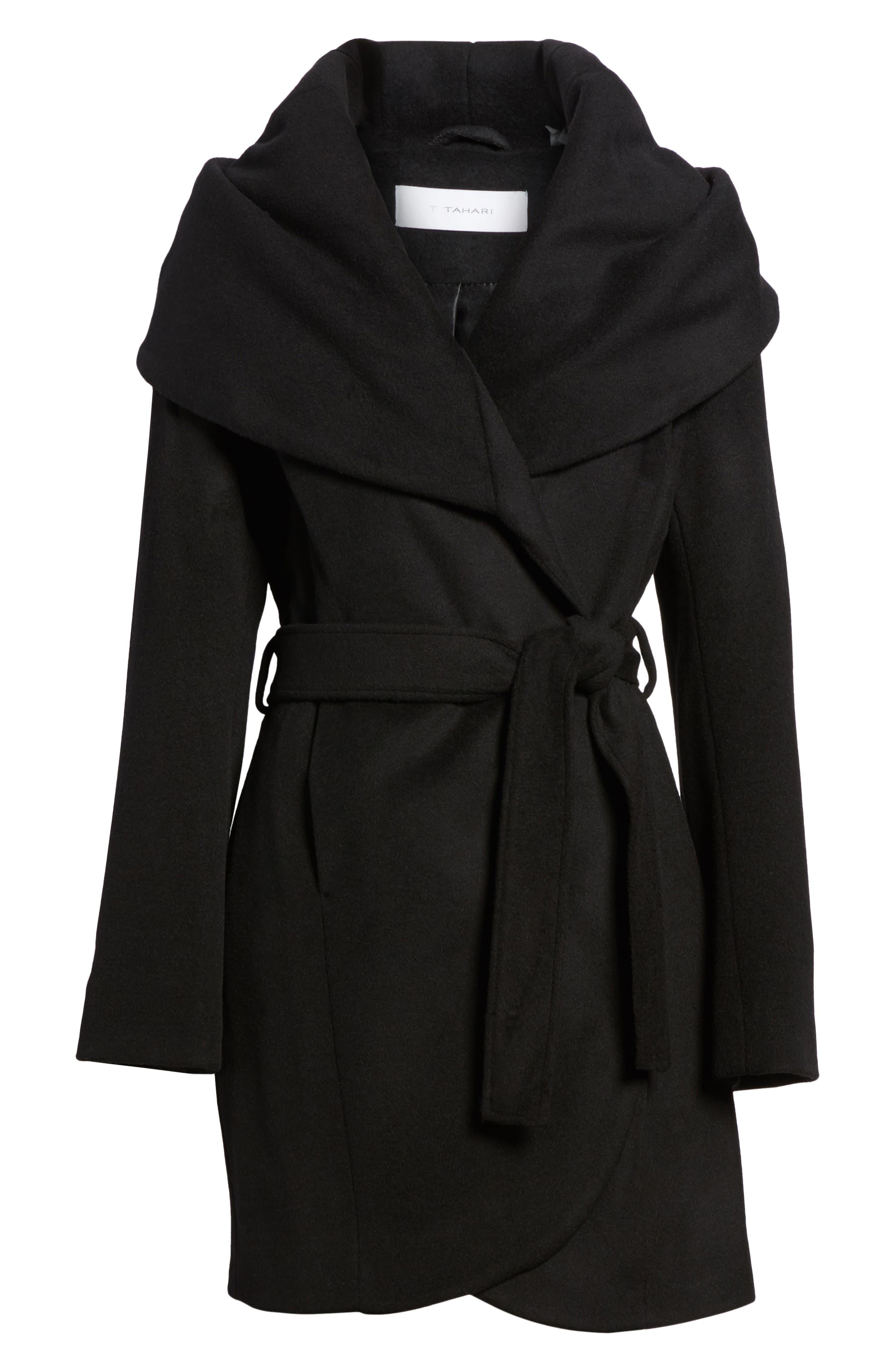 T Tahari Wool Blend Belted Wrap Coat,                         Main,                         color, BLACK