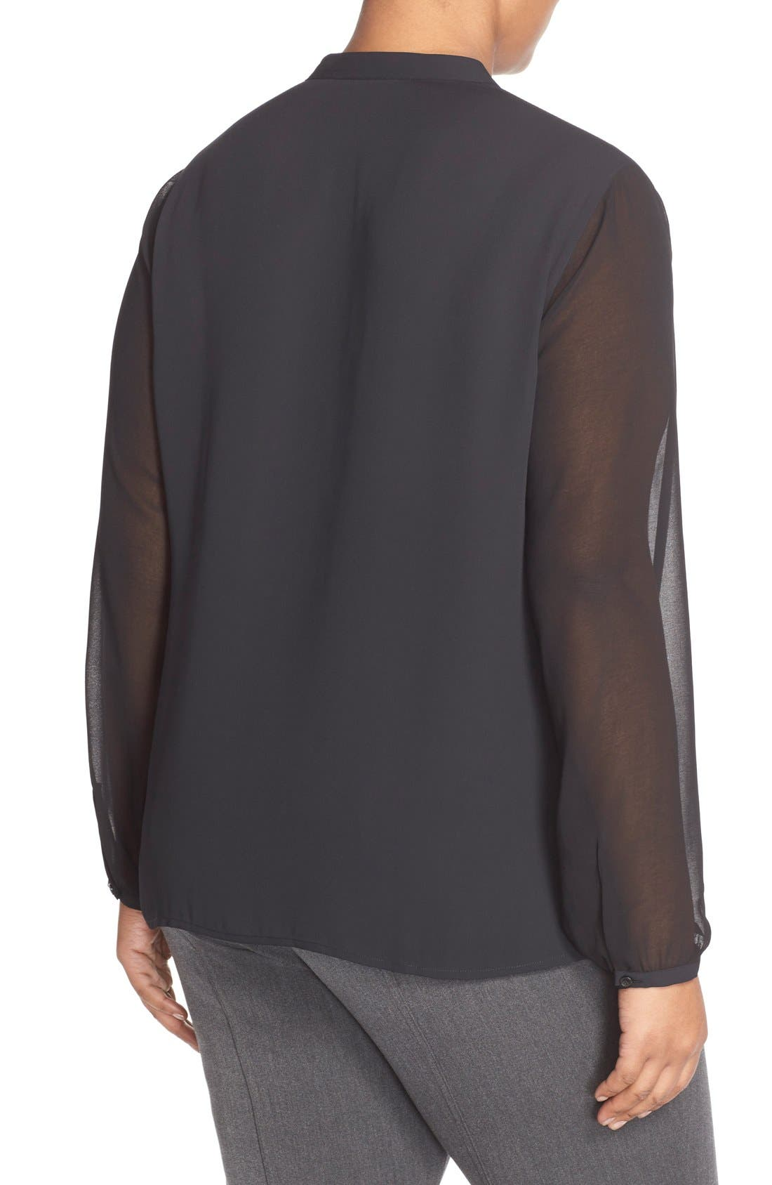Sheer Sleeve Split Neck Blouse,                             Alternate thumbnail 3, color,                             001
