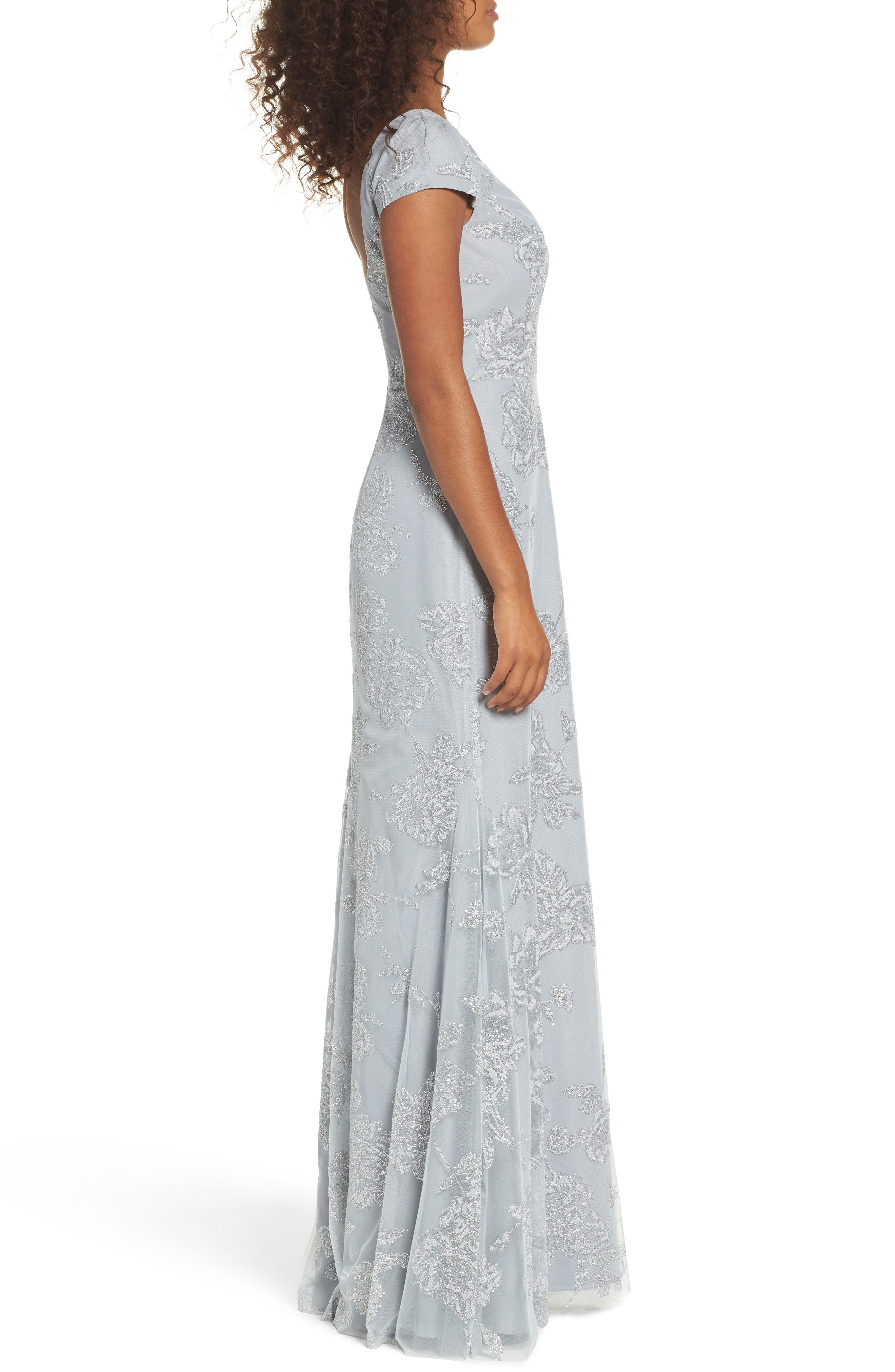 Beaded Trumpet Gown,                             Alternate thumbnail 3, color,                             PEWTER