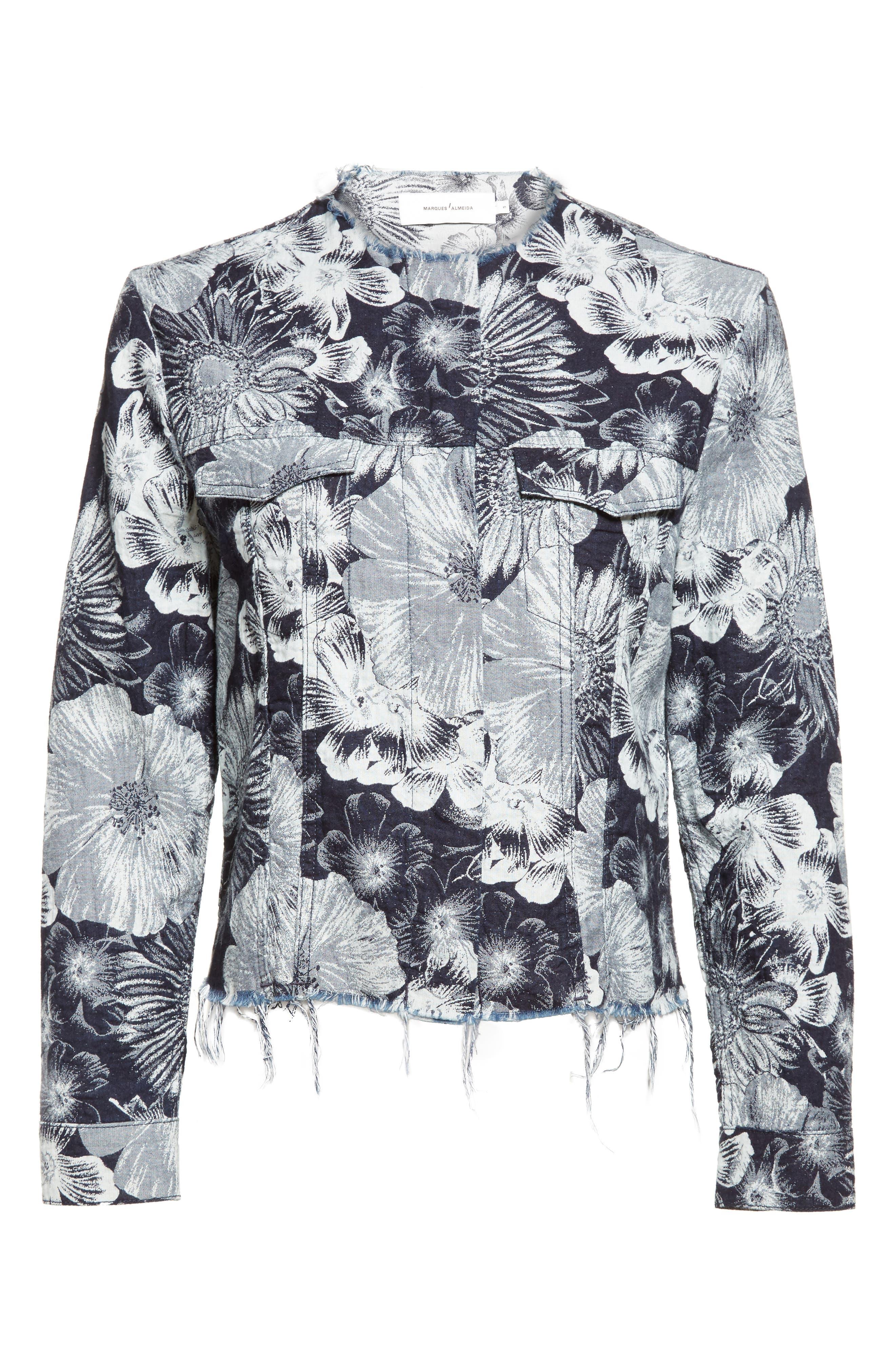 Marques'Almeida Floral Print Classic Fitted Denim Jacket,                             Alternate thumbnail 2, color,