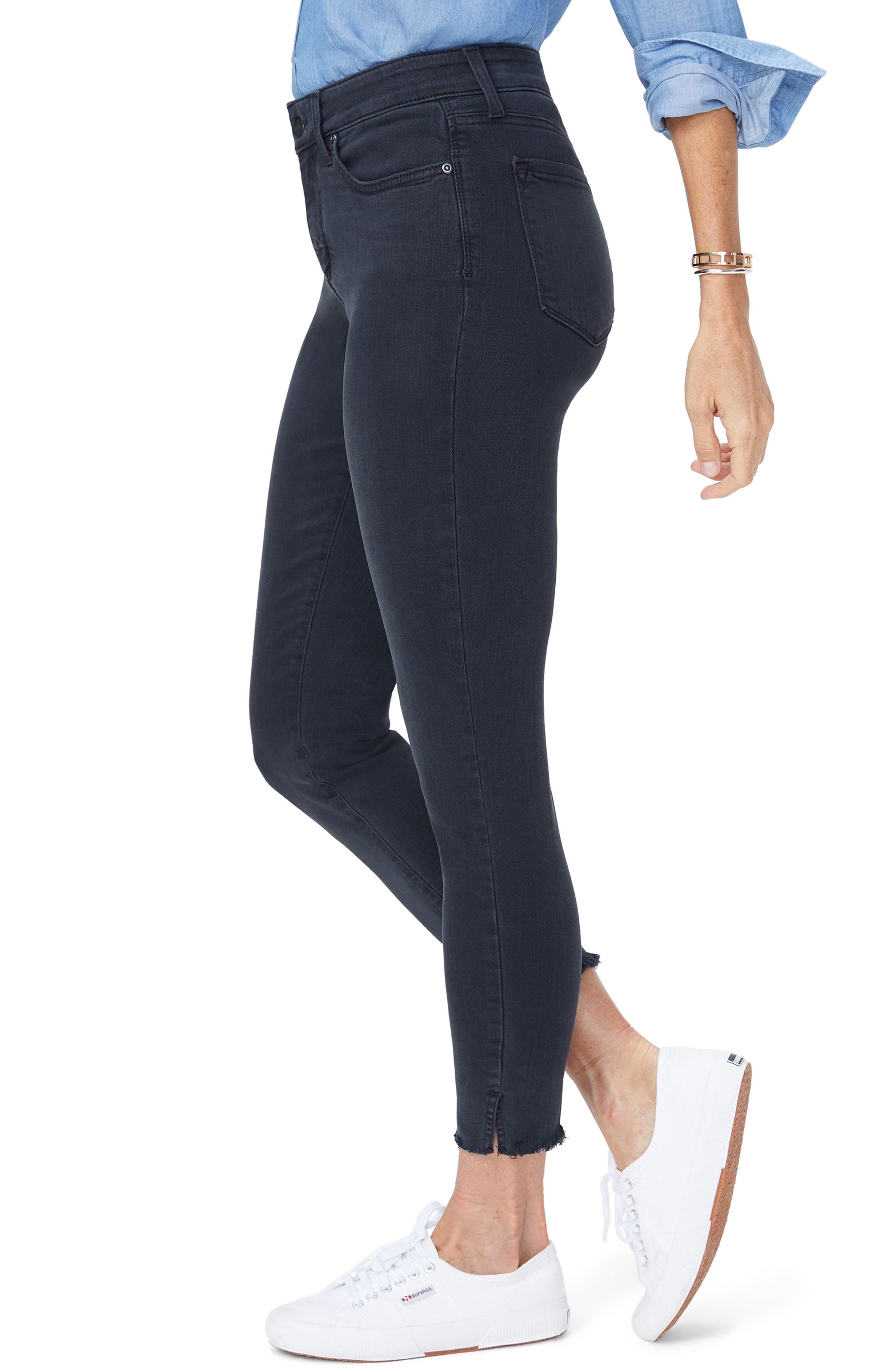 Ami Side Slit Fringe Hem Skinny Jeans,                             Alternate thumbnail 3, color,                             007