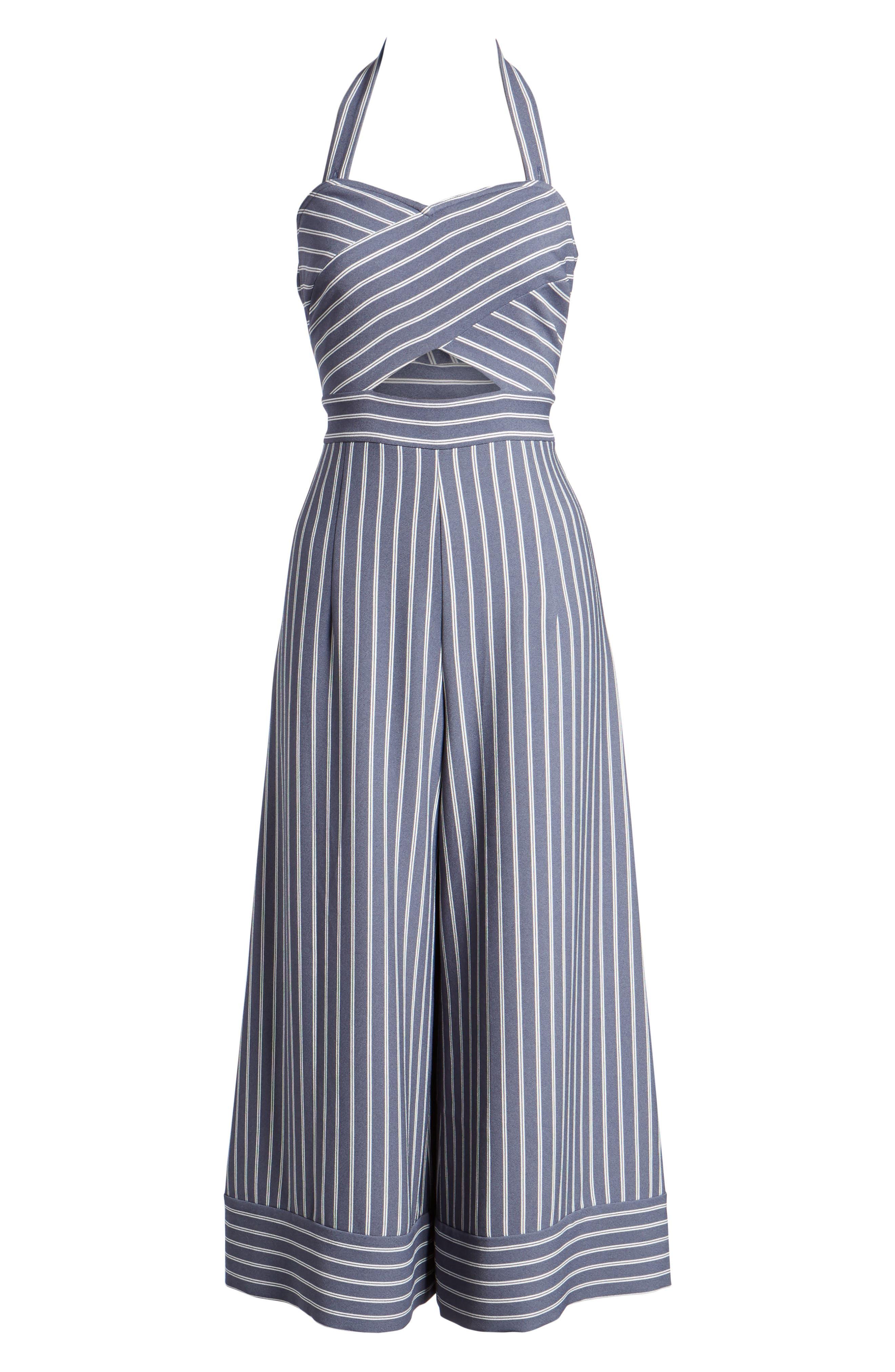 Stripe Convertible Halter Jumpsuit,                             Alternate thumbnail 6, color,