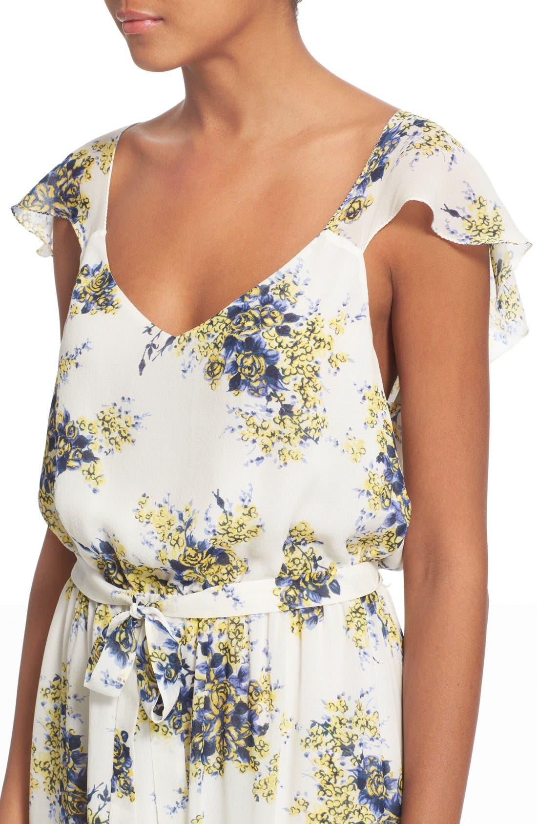 'Astilbe' Floral Print Silk Maxi Dress,                             Alternate thumbnail 4, color,                             901