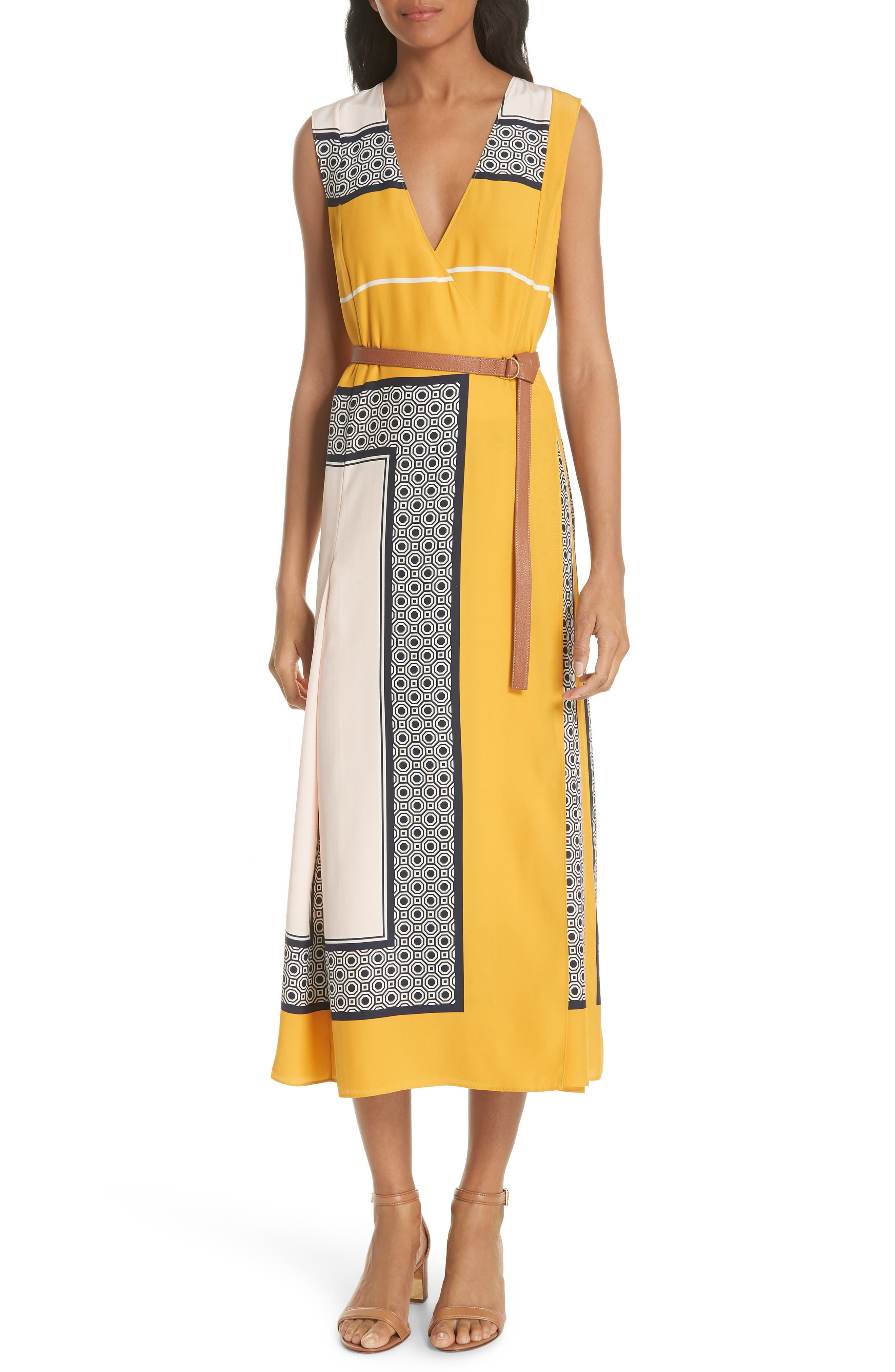 Clarice Belted Silk Wrap Dress,                             Main thumbnail 1, color,                             658