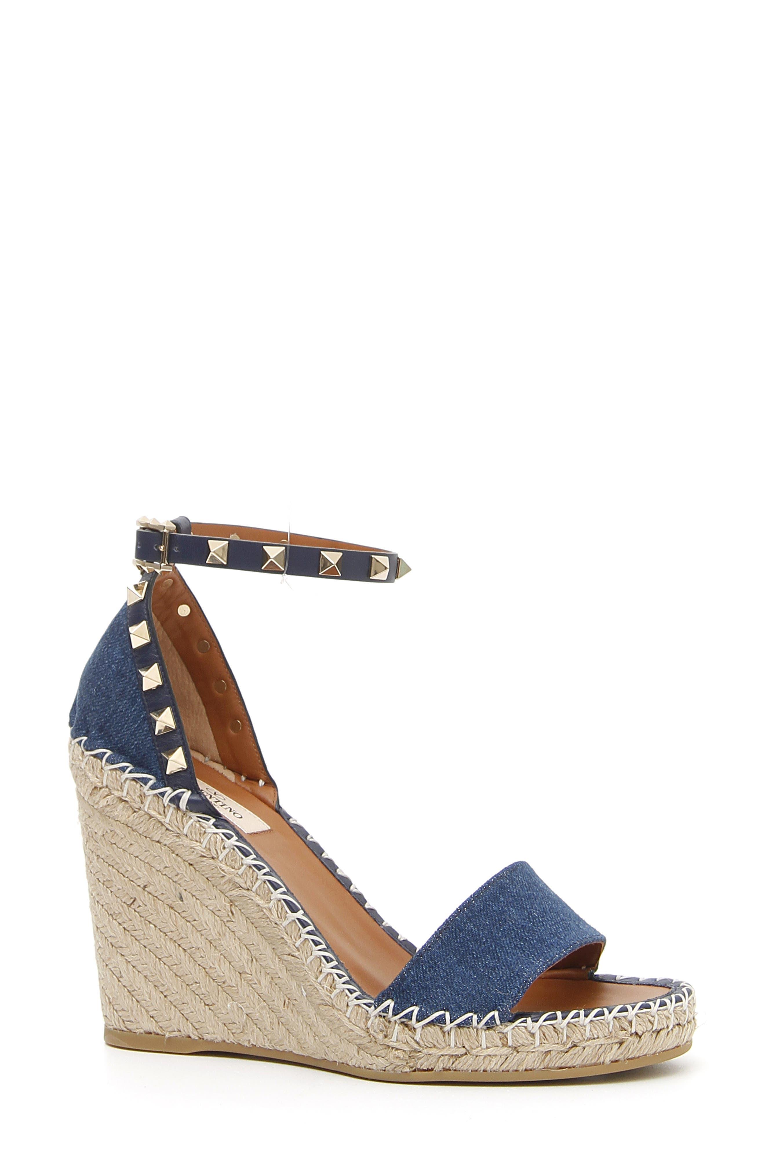 Rockstud Denim Espadrille Wedge Sandals in Denim Blue