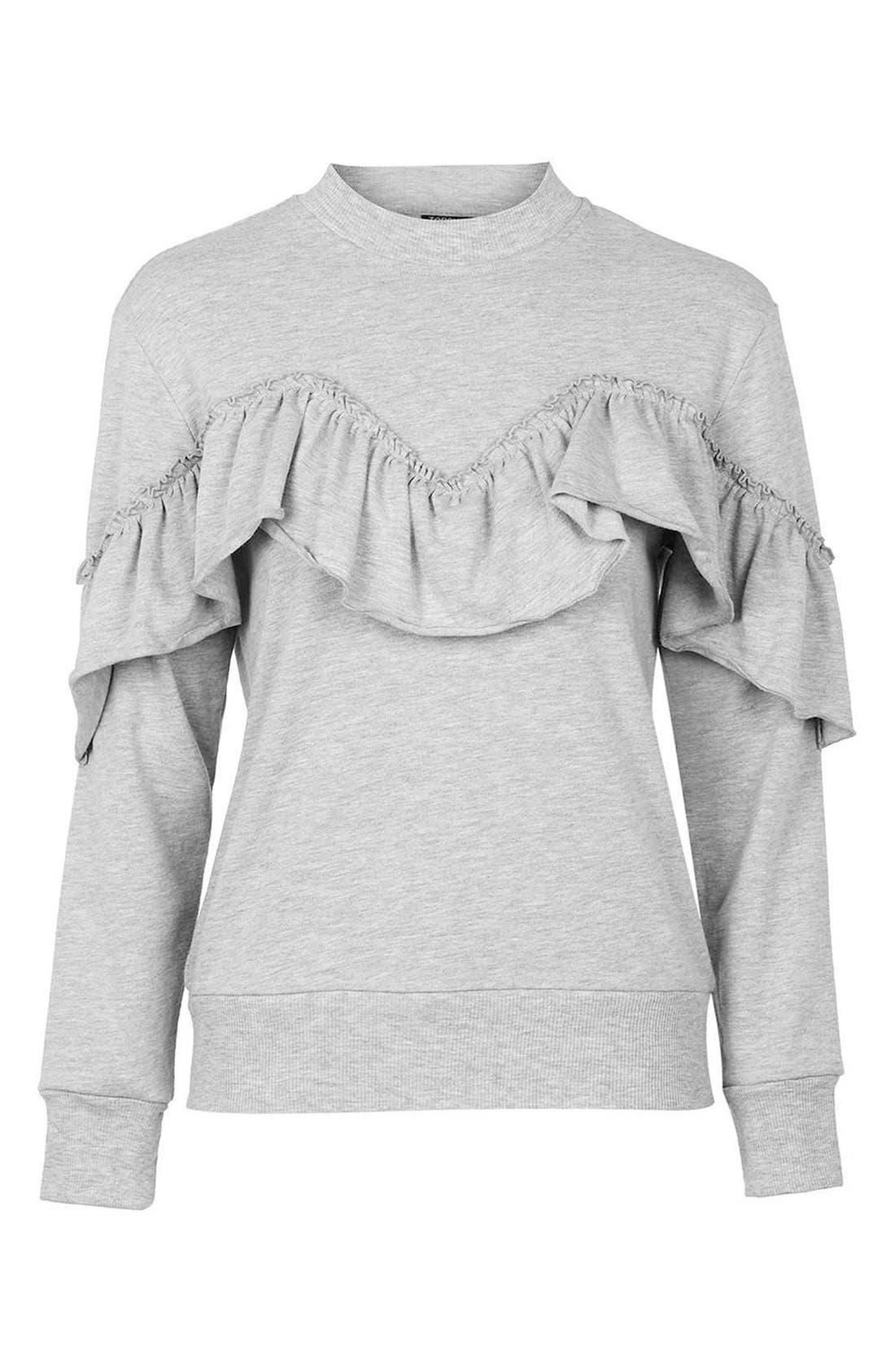 Jersey Ruffle Sweatshirt,                             Alternate thumbnail 5, color,                             020