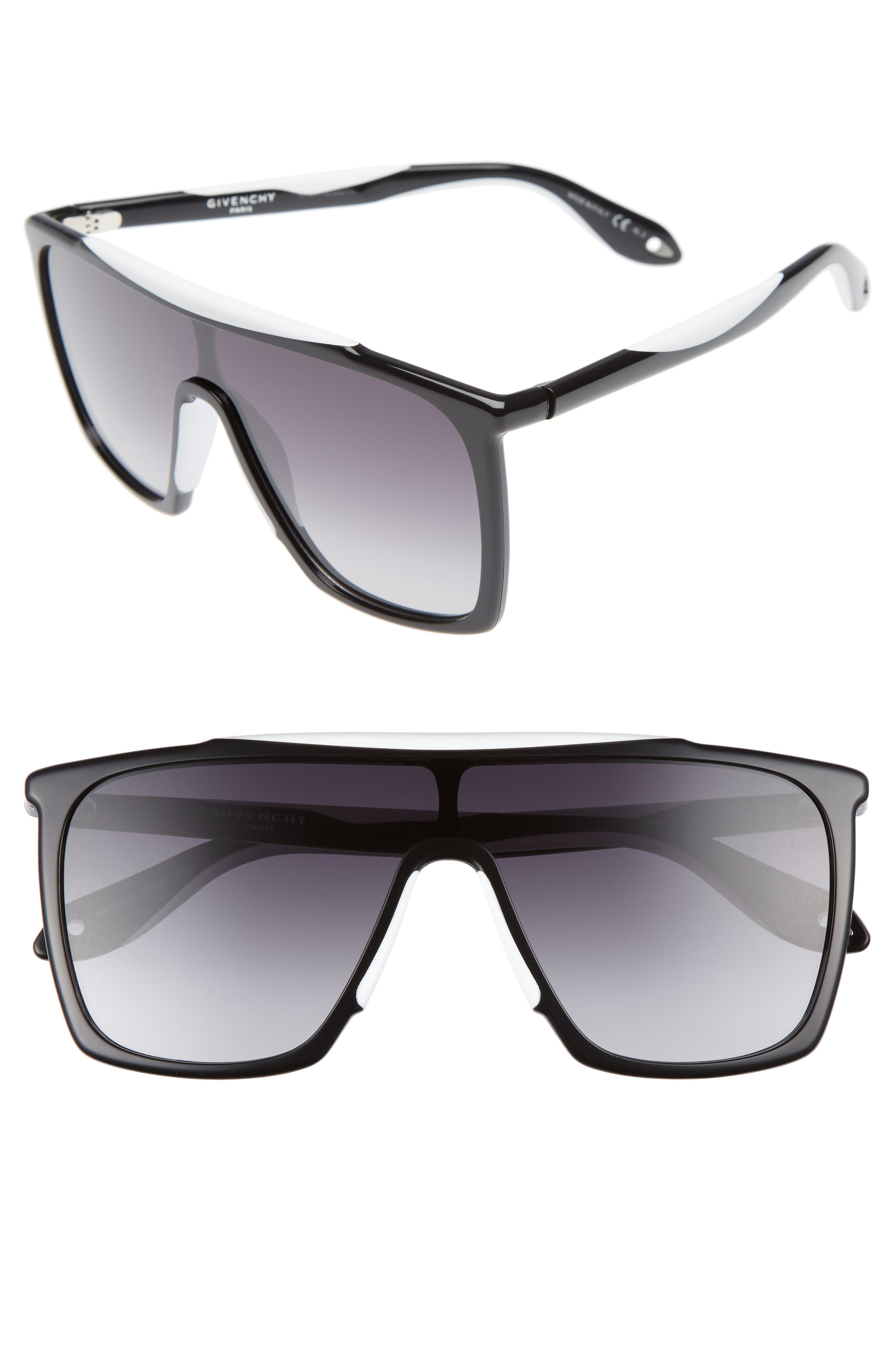 99mm Oversize Sunglasses,                         Main,                         color, BLACK WHITE