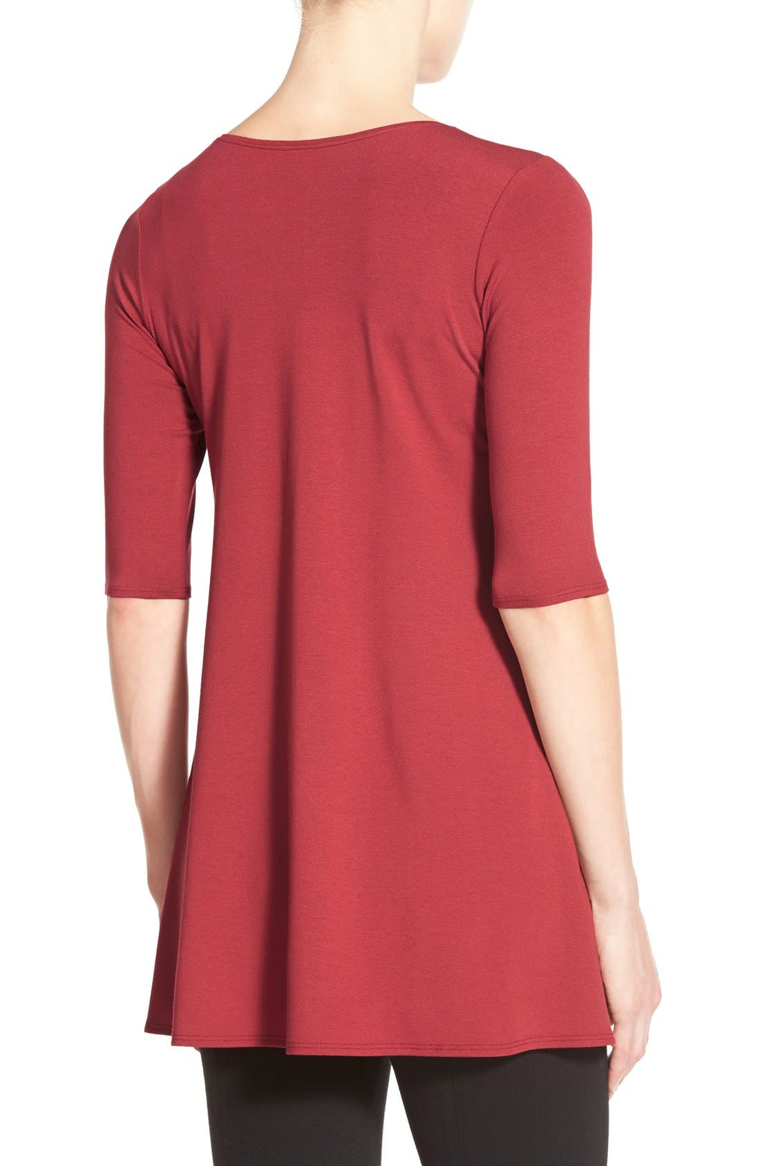 Scoop Neck Elbow Sleeve Jersey Tunic,                             Alternate thumbnail 49, color,