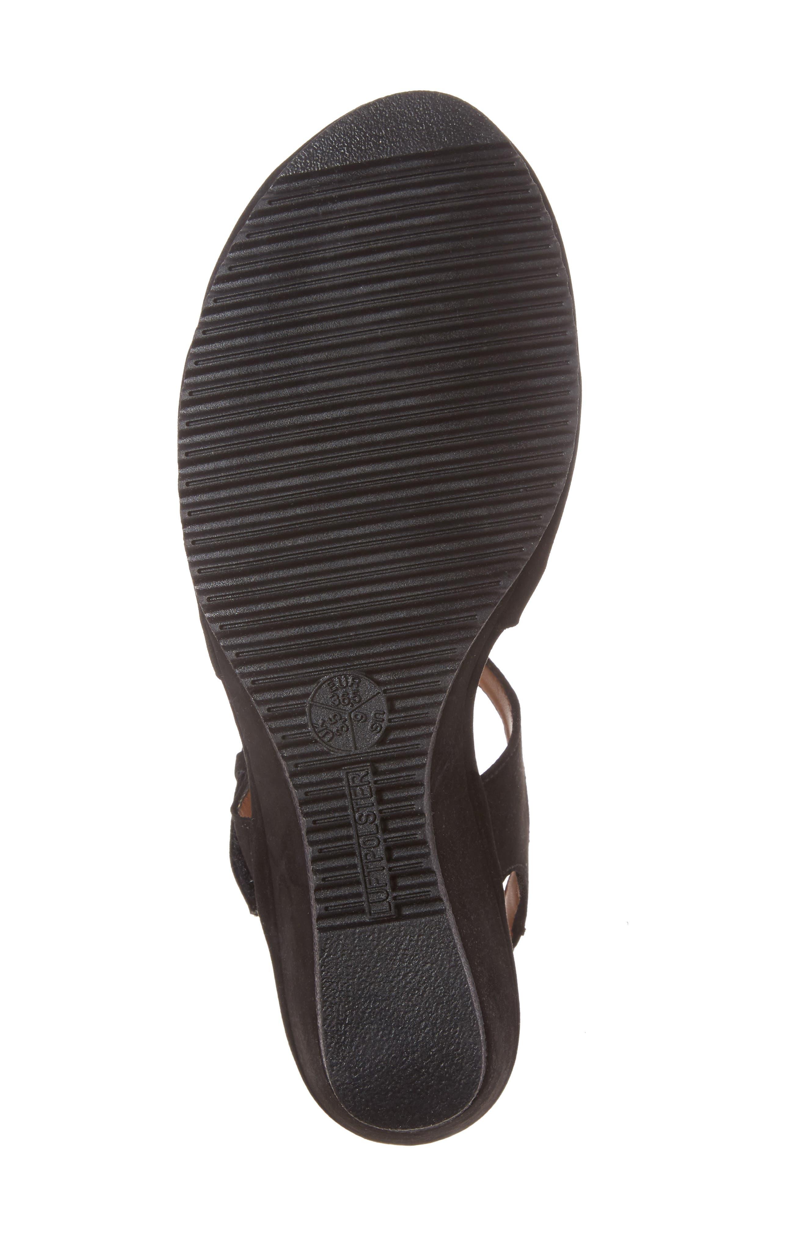 ARA,                             Wedge Sandal,                             Alternate thumbnail 6, color,                             BLACK
