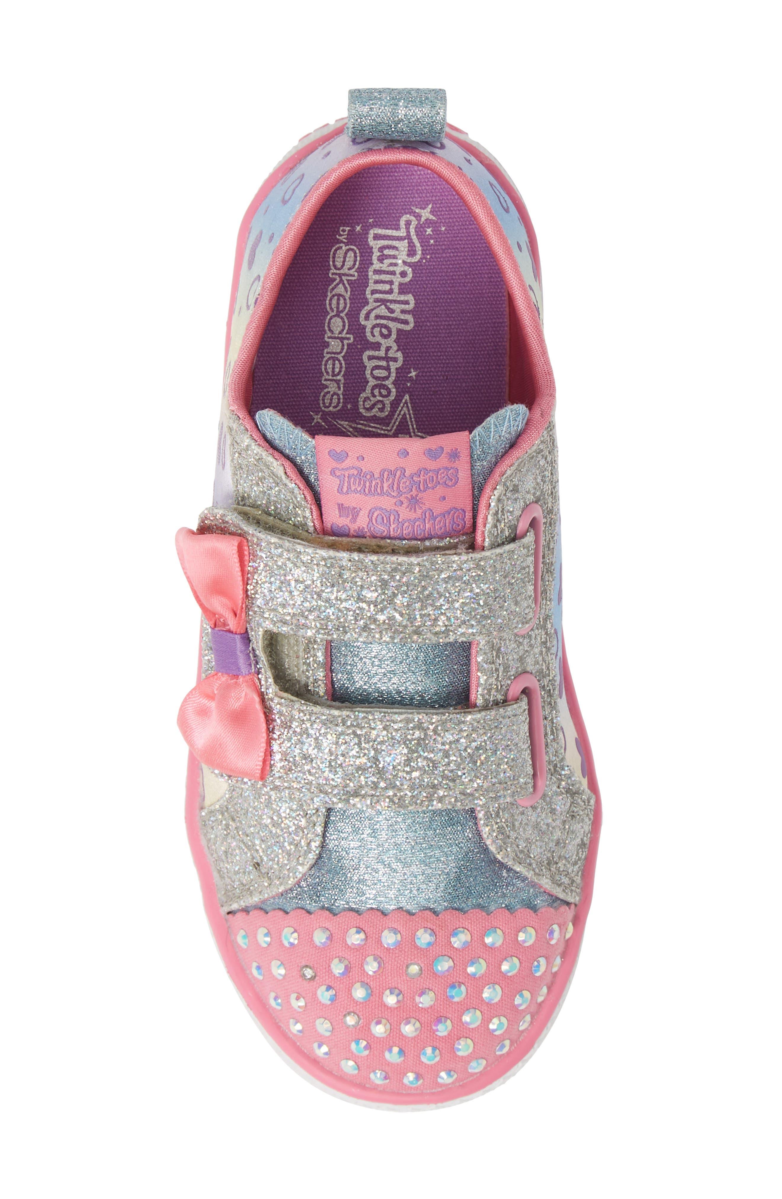 Shuffle Lite Glitter Sneaker,                             Alternate thumbnail 5, color,                             SILVER/ MULTI