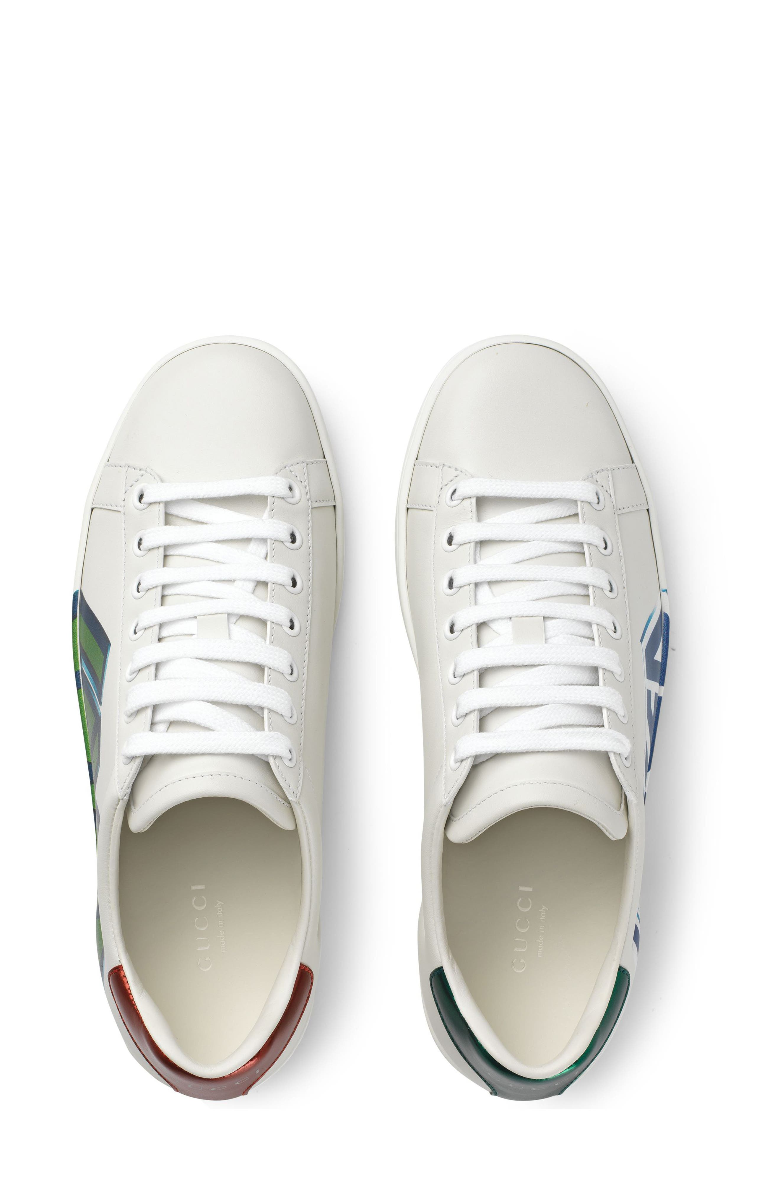 GUCCI,                             New Ace Loved Sneaker,                             Alternate thumbnail 4, color,                             WHITE
