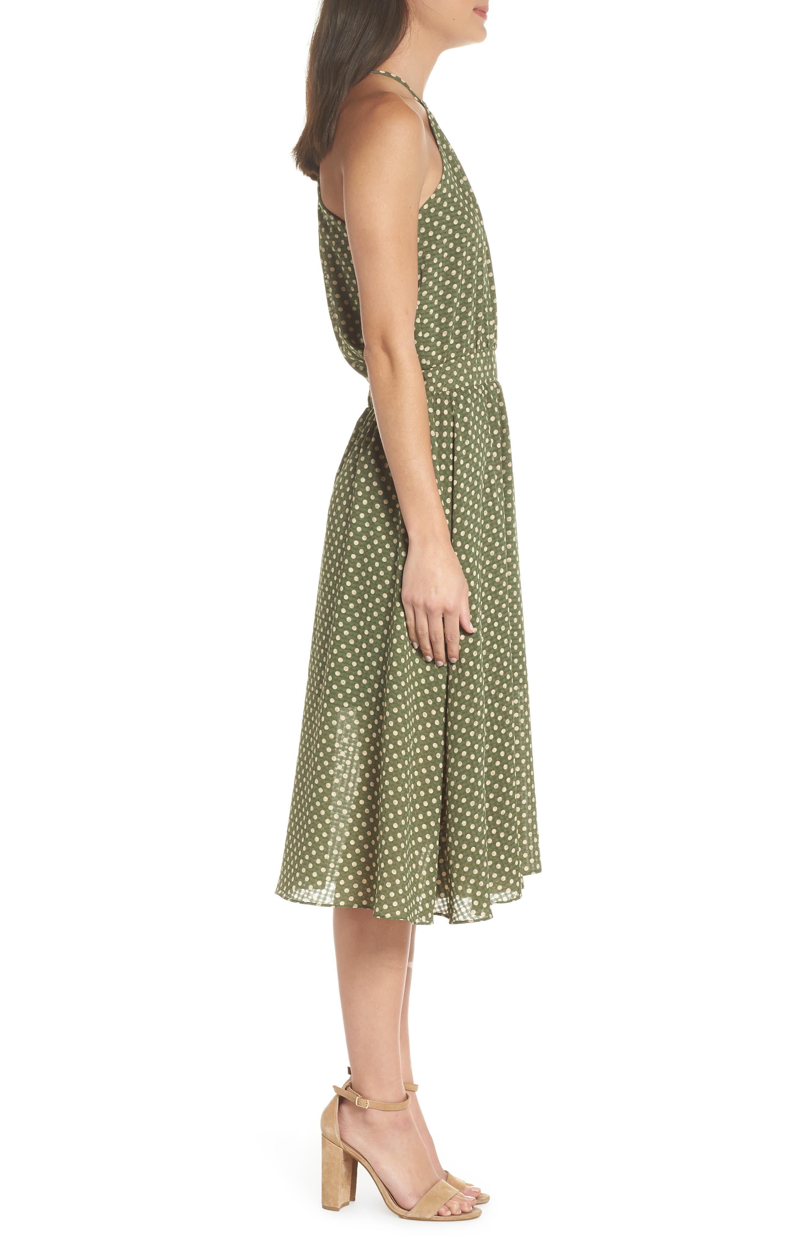 Polka Dot Halter Dress,                             Alternate thumbnail 3, color,                             350