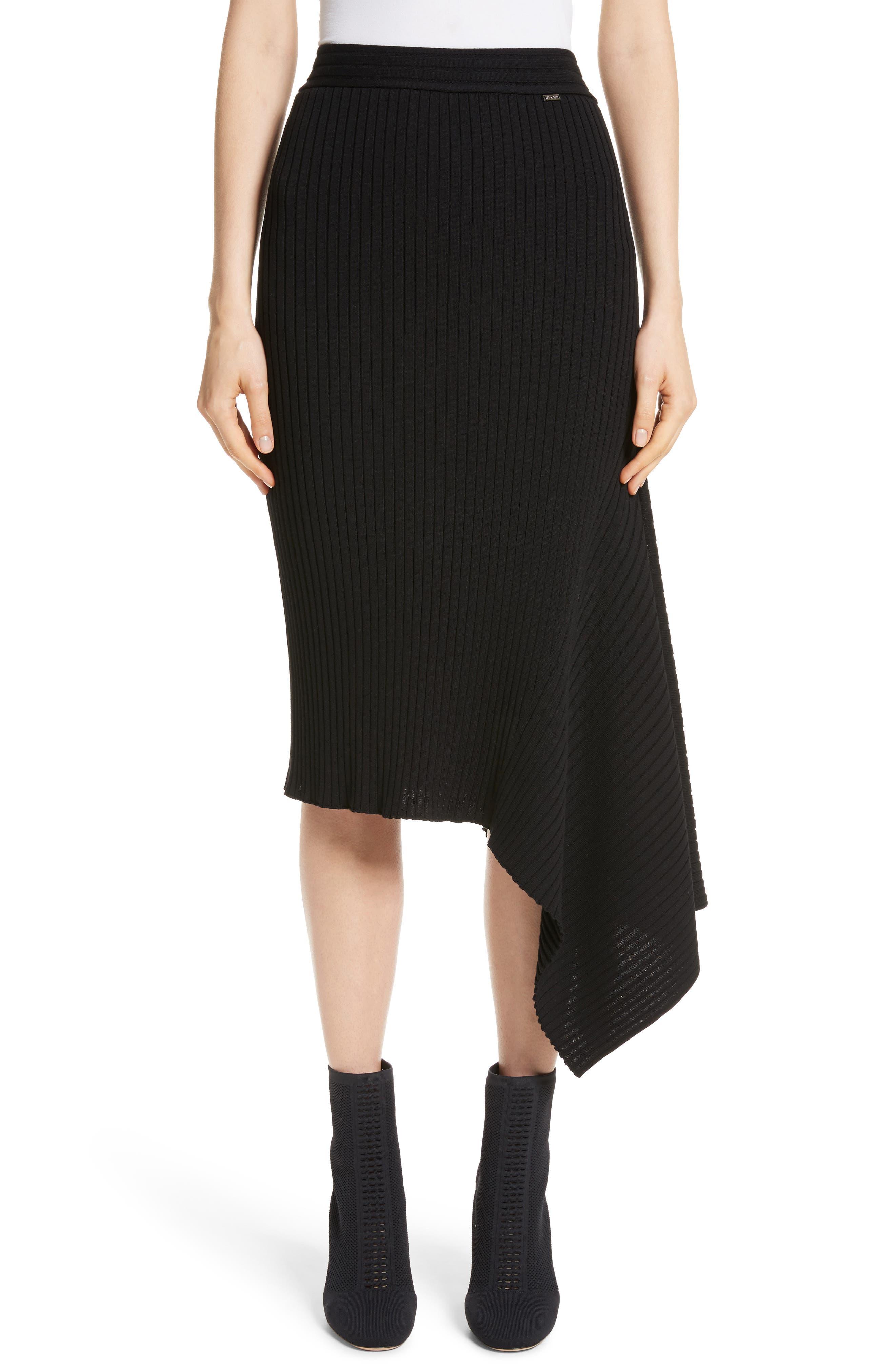 Flat Rib Knit Asymmetrical Skirt,                         Main,                         color, CAVIAR