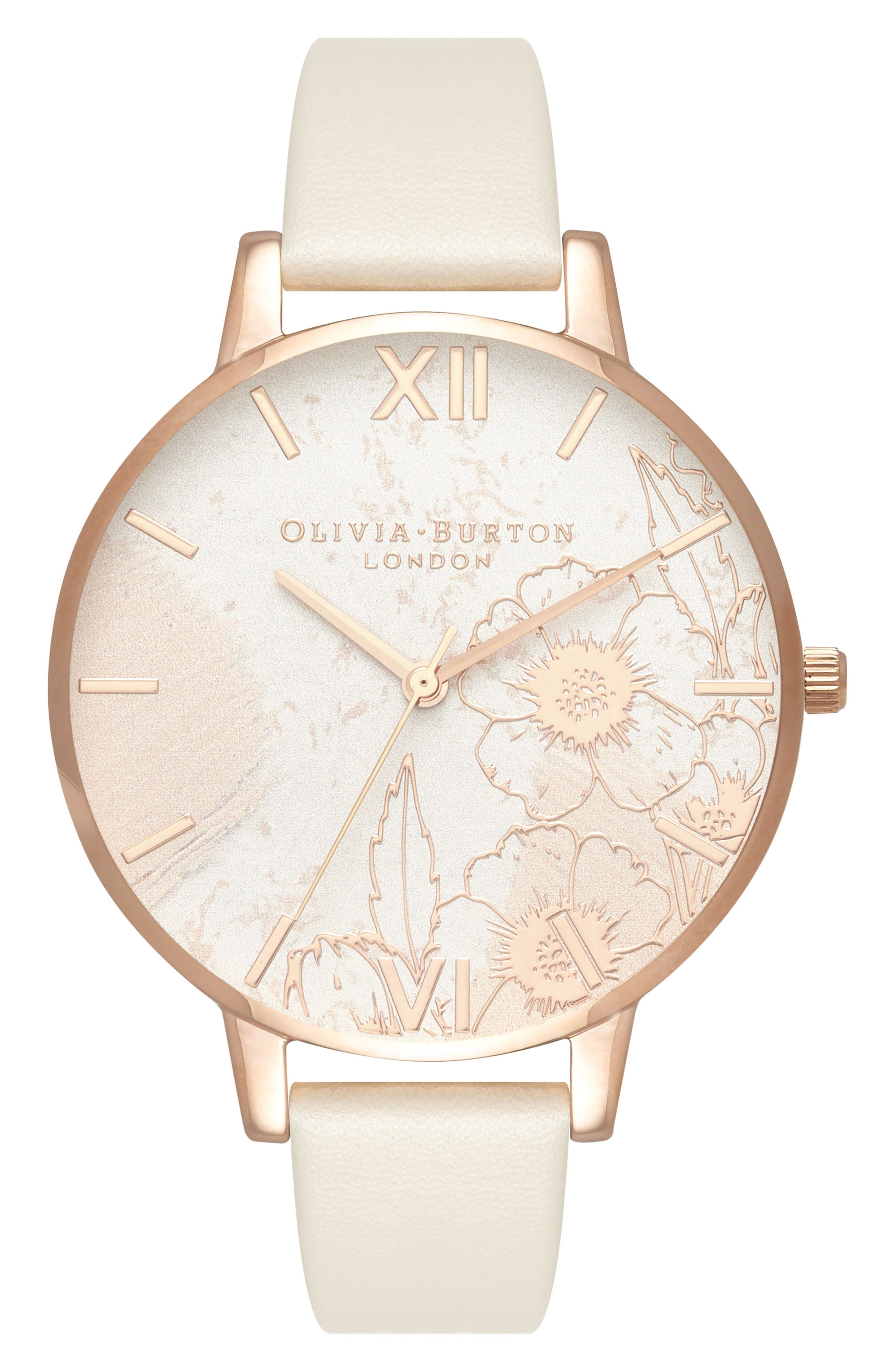 Abstract Floral Faux Leather Strap Watch, 38mm,                         Main,                         color, NUDE/ FLORAL/ ROSE GOLD