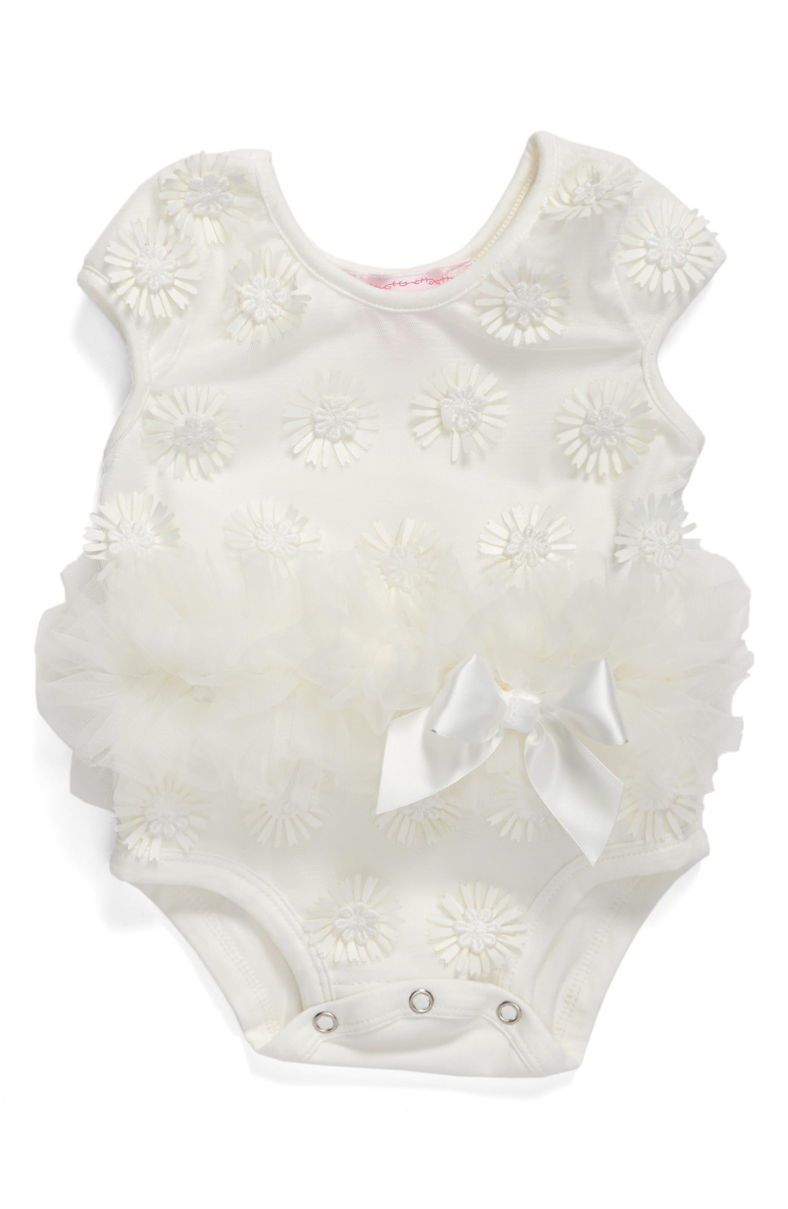 Daisy Tutu Bodysuit,                             Main thumbnail 1, color,                             WHITE