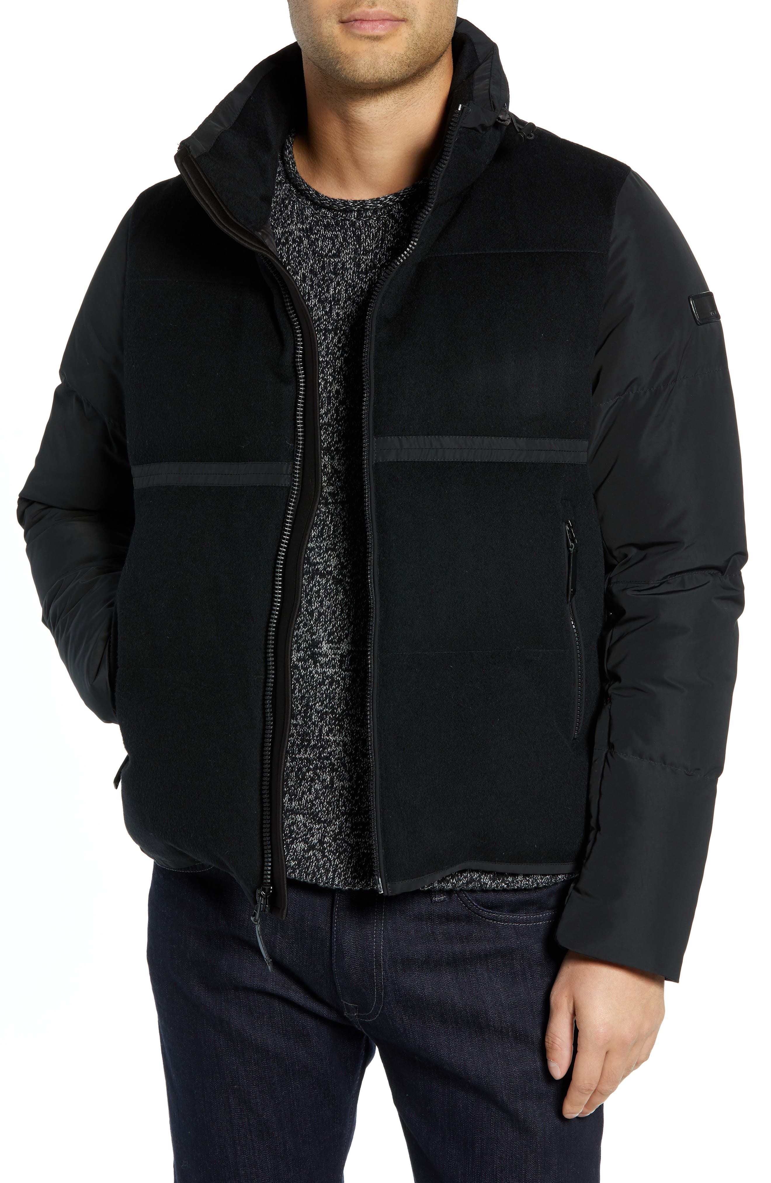 Wool Puffer Jacket,                         Main,                         color, BLACK