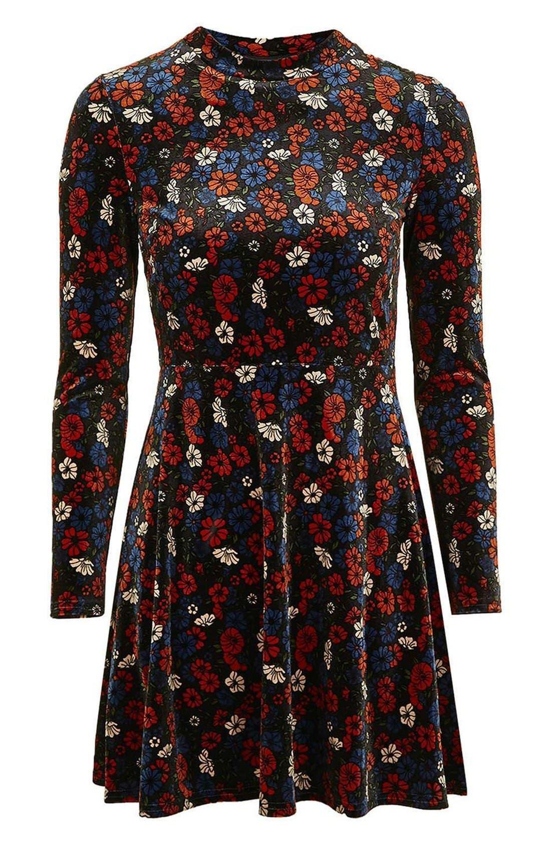 Ditsy Print Velvet Skater Dress,                             Alternate thumbnail 4, color,                             400