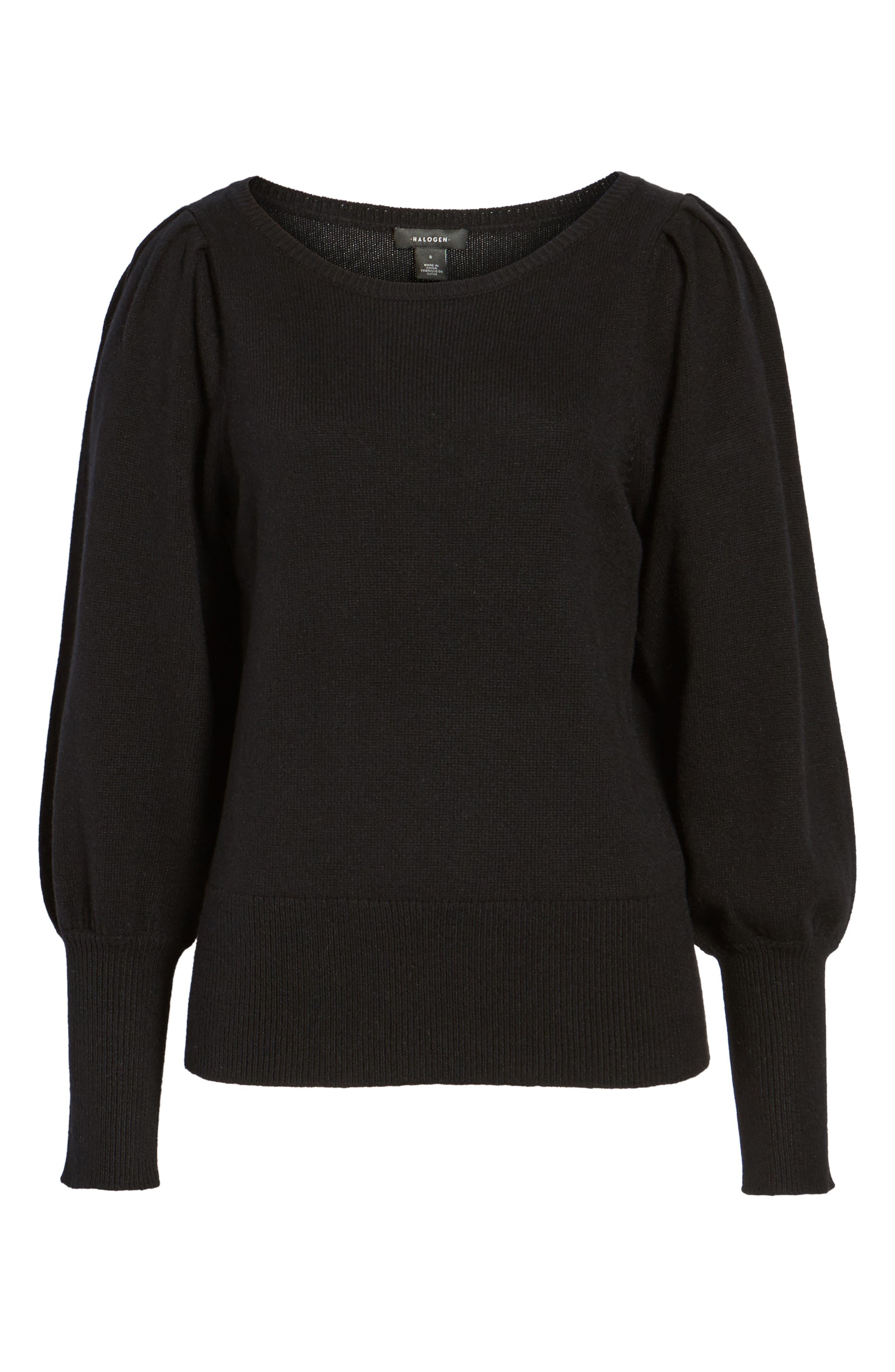 Bateau Neck Blouson Sleeve Sweater,                             Alternate thumbnail 6, color,                             001