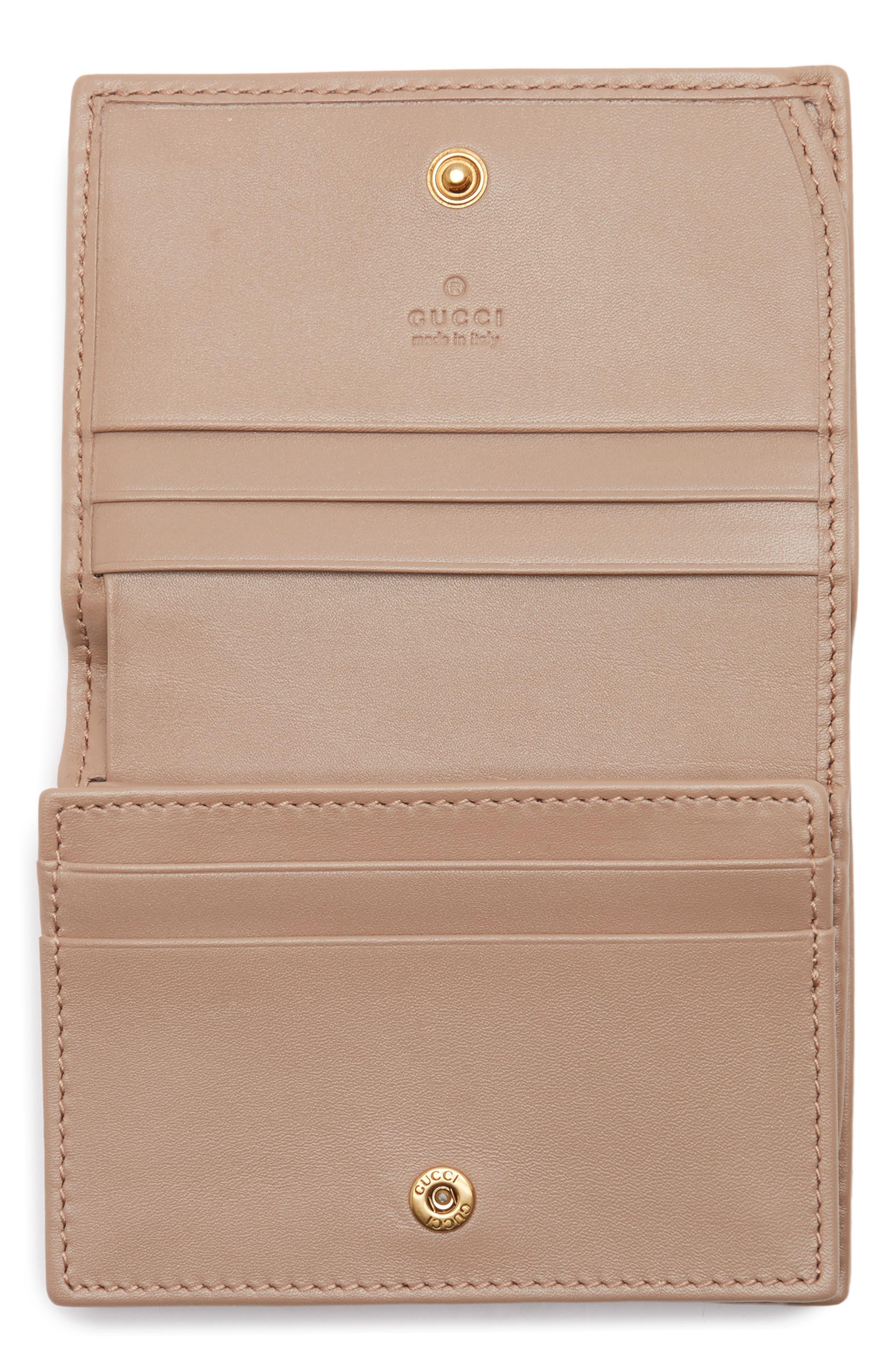 GG Marmont Matelassé Leather Card Case,                             Alternate thumbnail 2, color,                             PORCELAIN ROSE