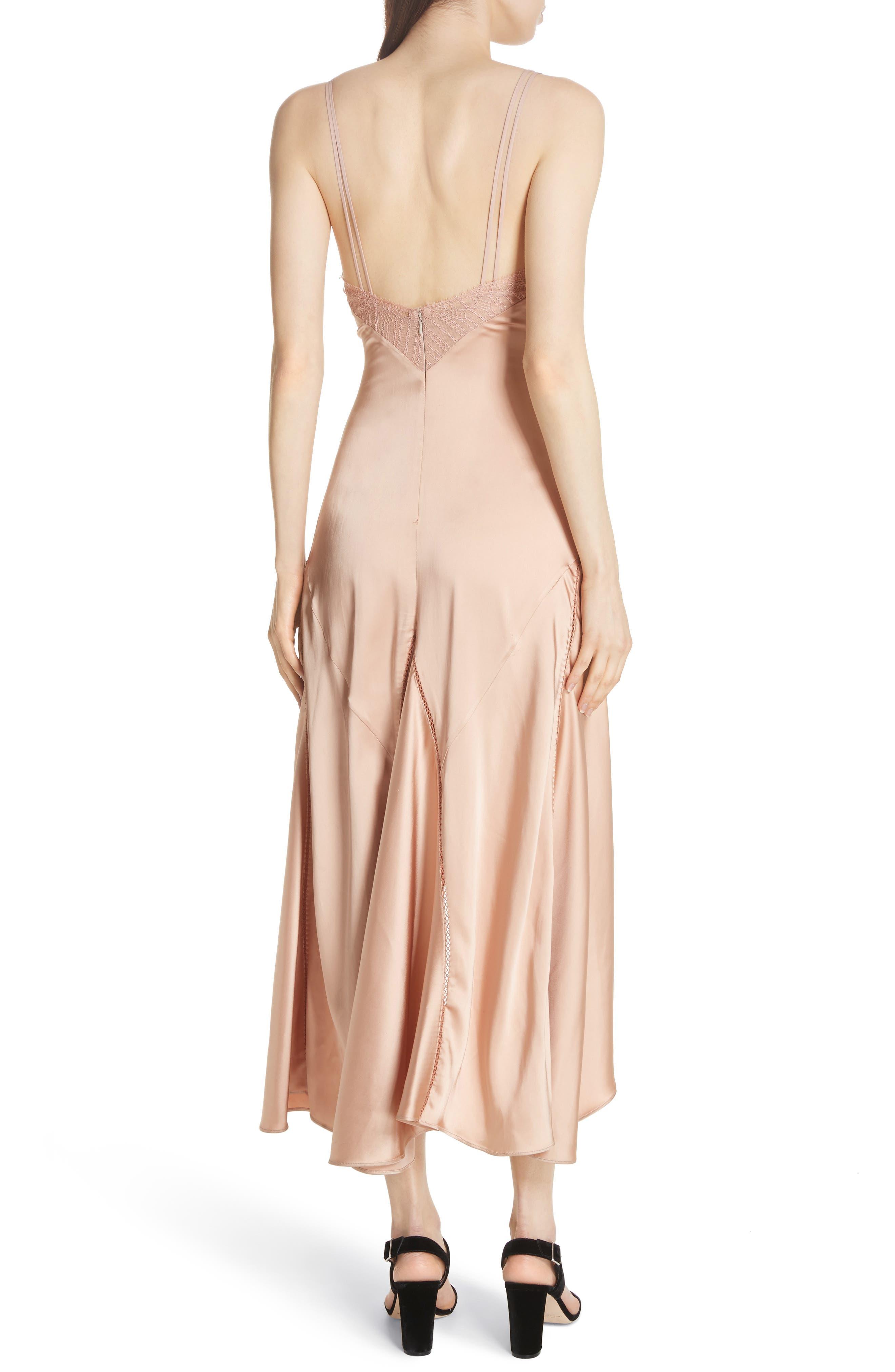 Mixed Trim Satin Handkerchief Dress,                             Alternate thumbnail 2, color,                             241