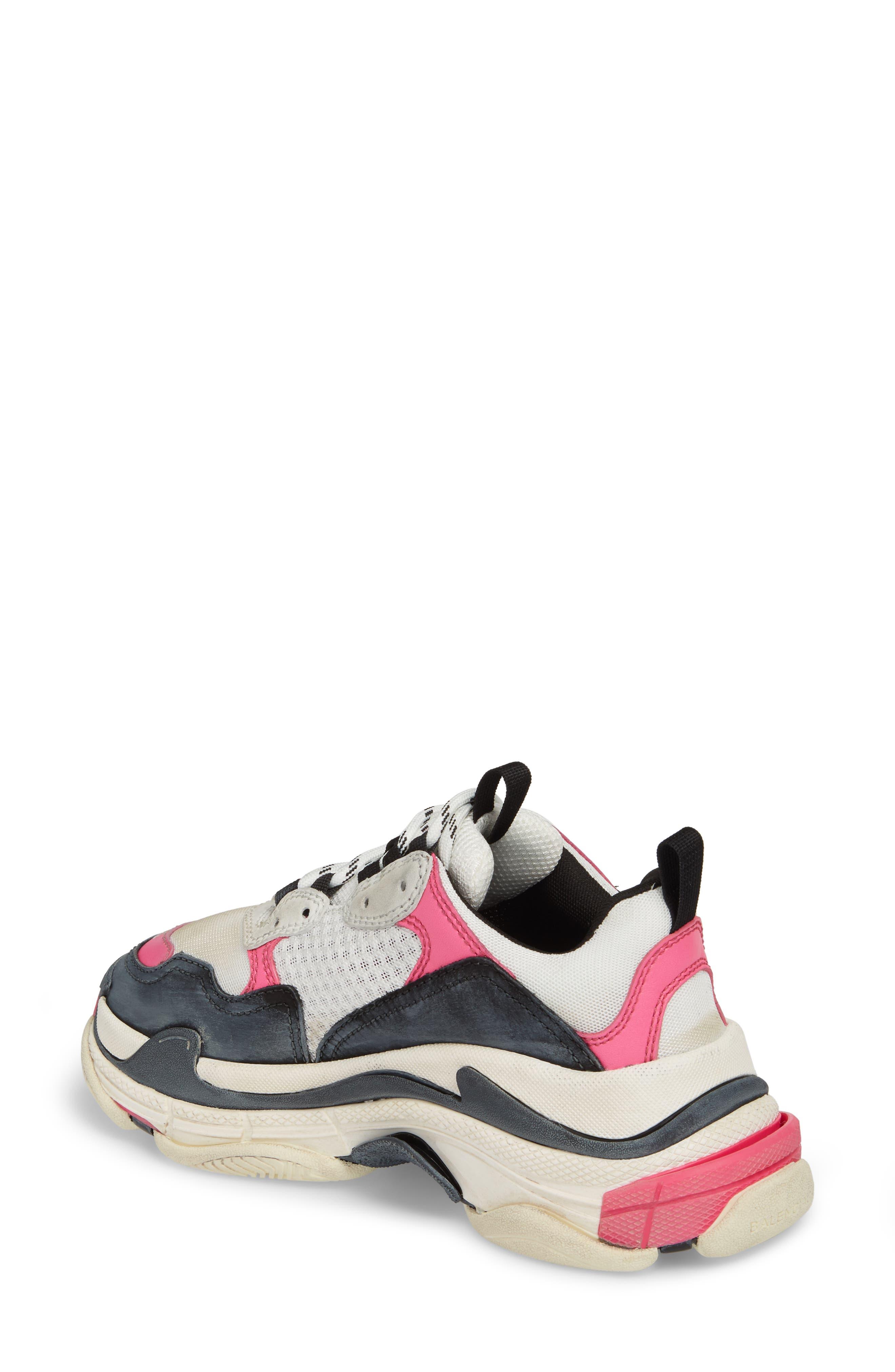 BALENCIAGA,                             Triple S Low Top Sneaker,                             Alternate thumbnail 2, color,                             WHITE/ BLACK/ PINK